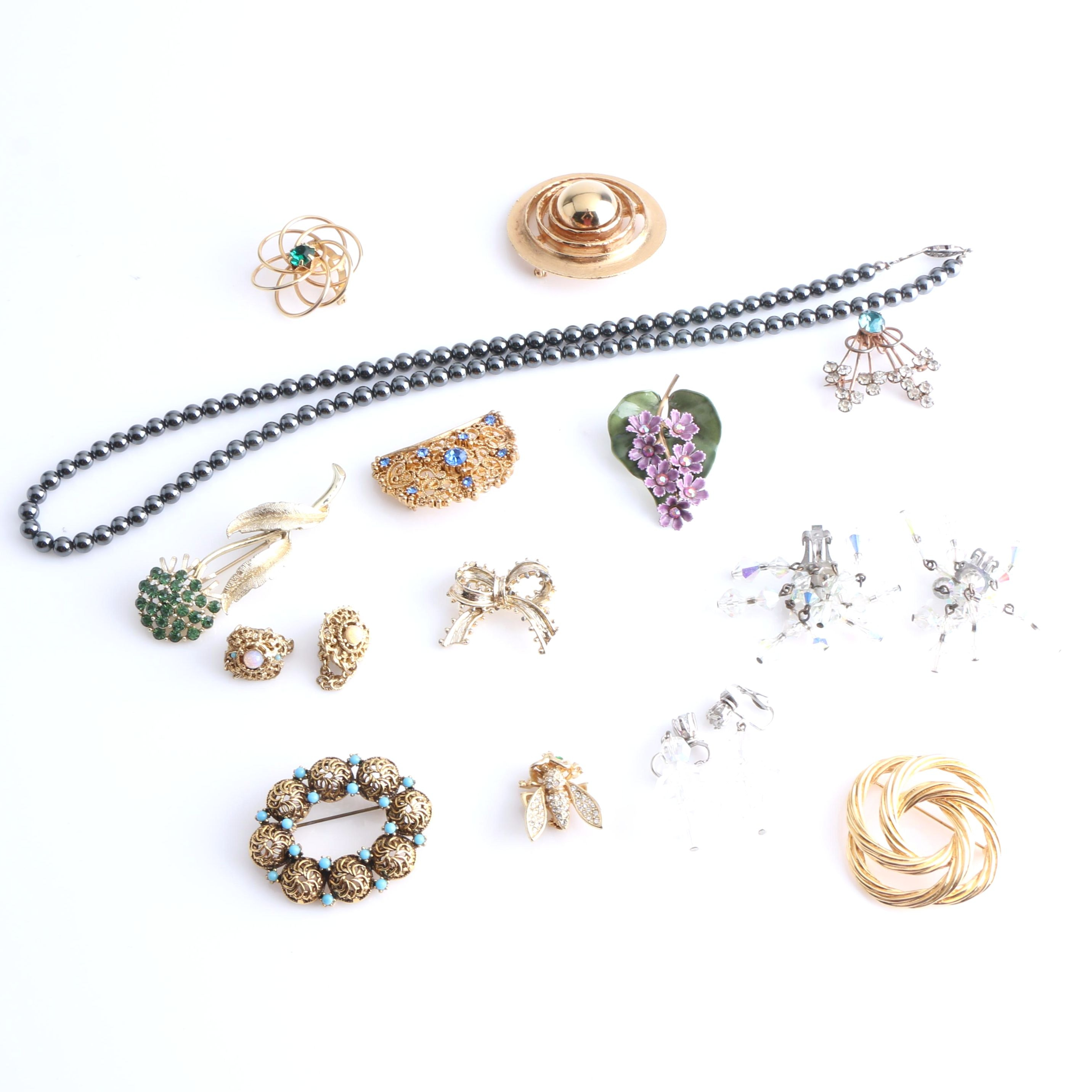 Assortment of Costume Jewelry Including a Coro and Sterling Silver Brooch
