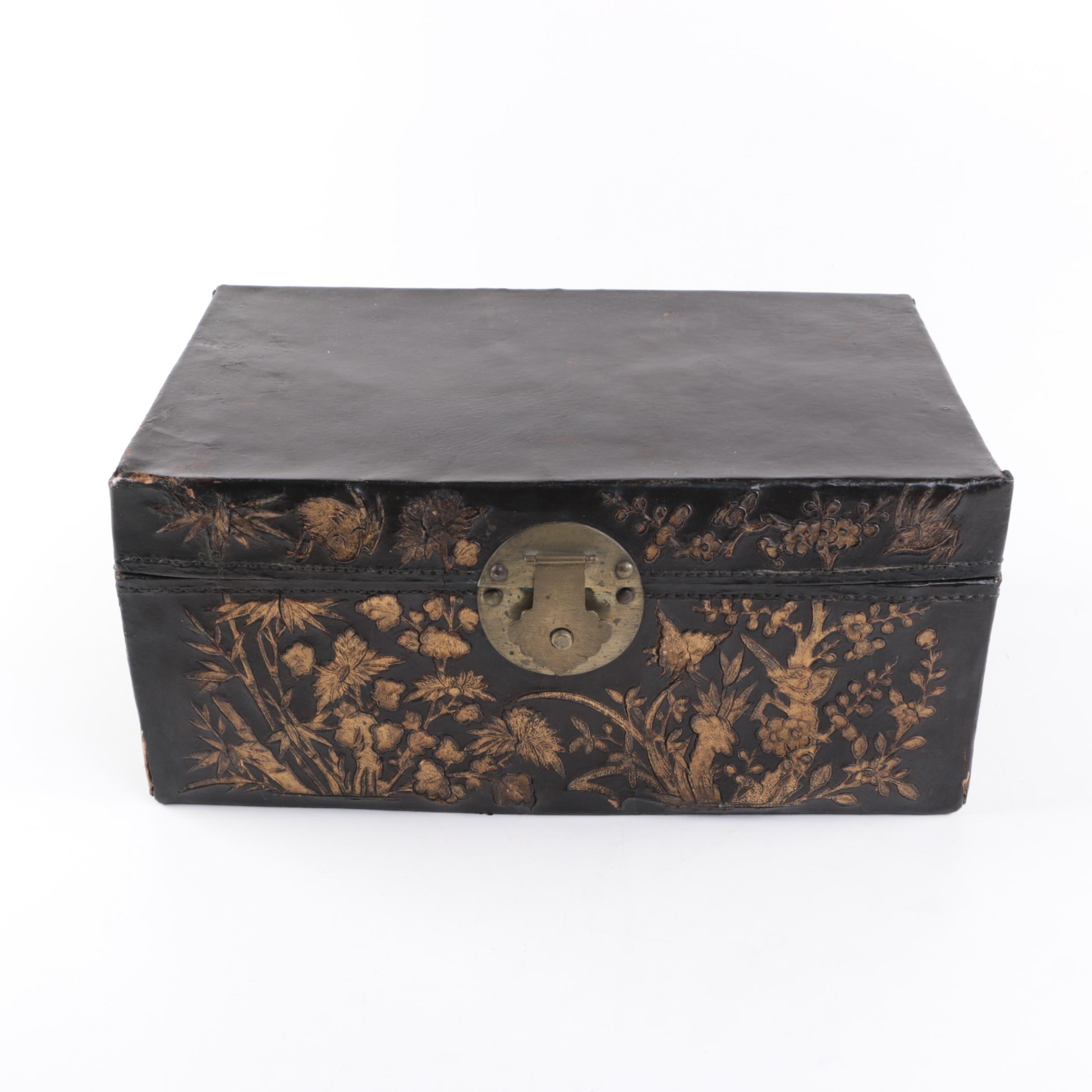 Vintage Embossed Leather Covered Chest