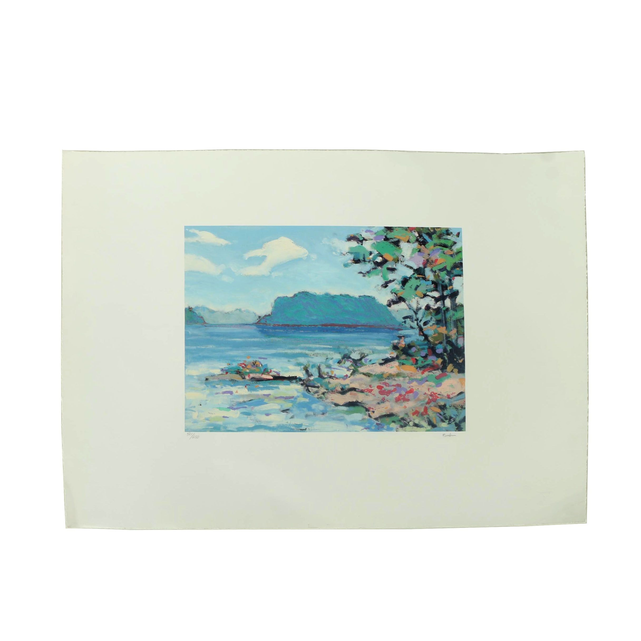 Balson Limited Edition Offset Lithograph on Paper of a Seaside