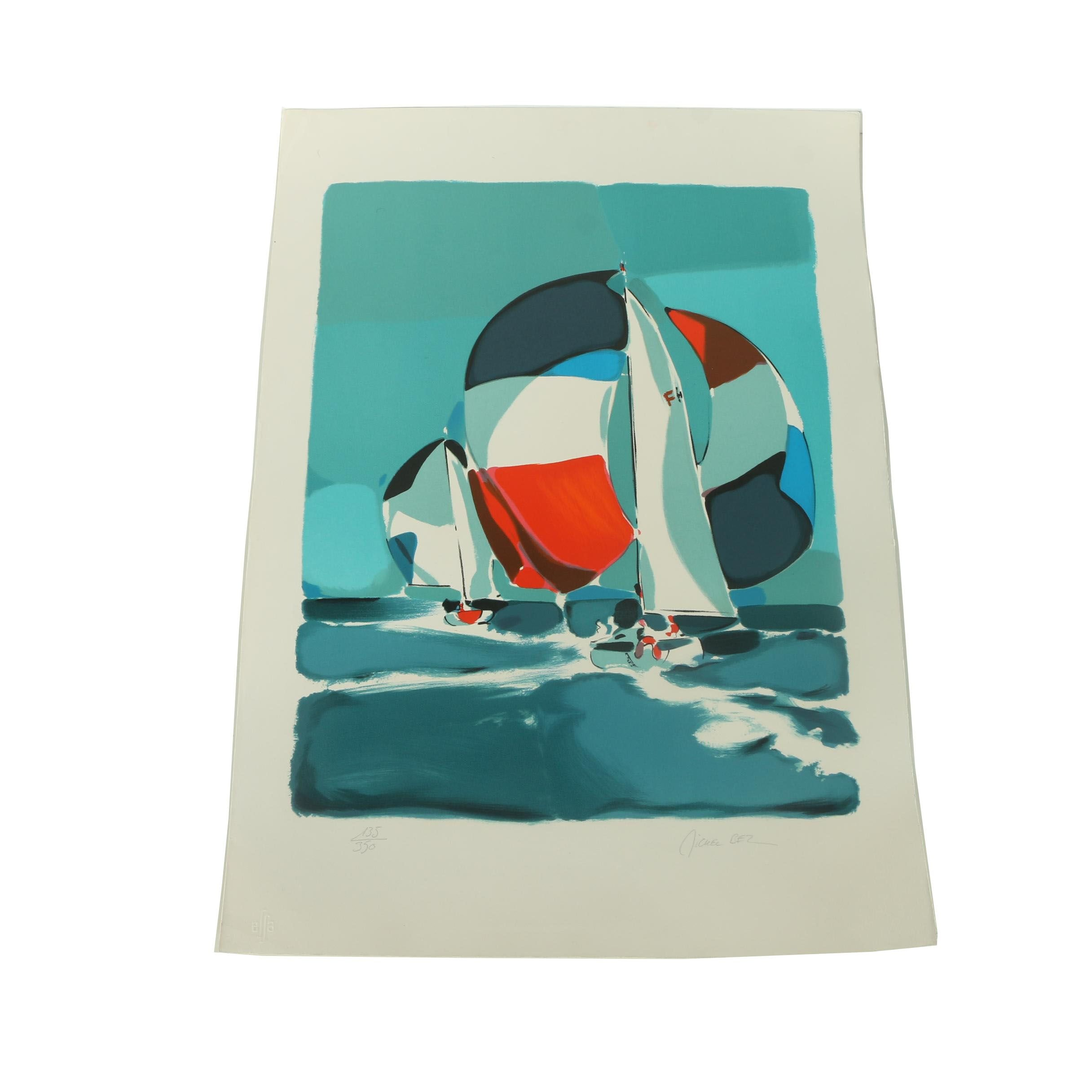 Michel Bez Limited Edition Color Lithograph of Sailboats at Sea