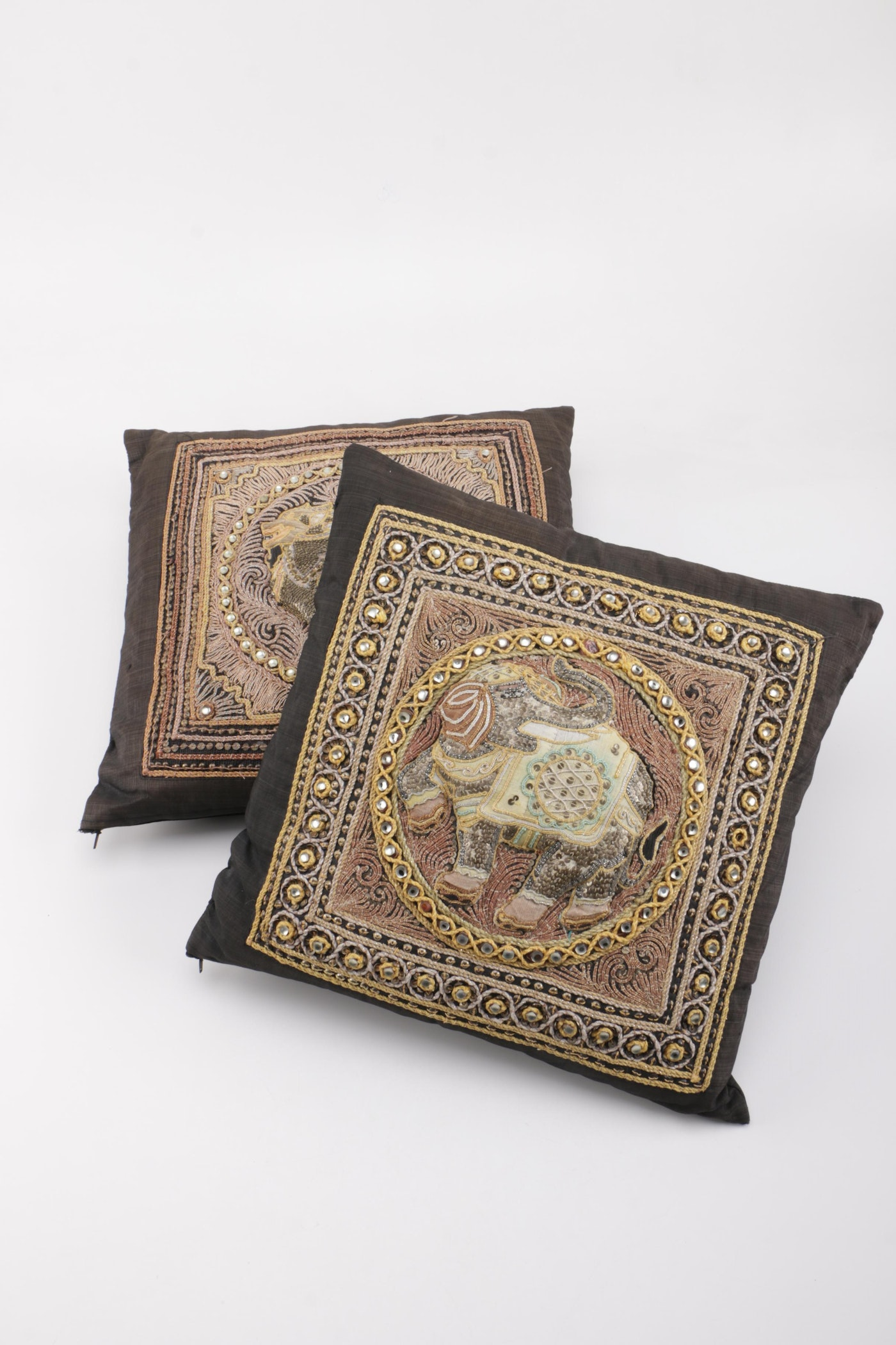 Sequin Elephant Throw Pillow : Pair of Kalaga Style Sequin and Beaded Throw Pillows : EBTH