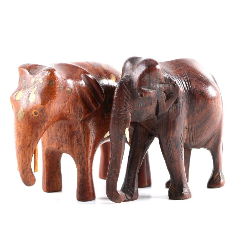 Pair of Carved Decorative Elephants