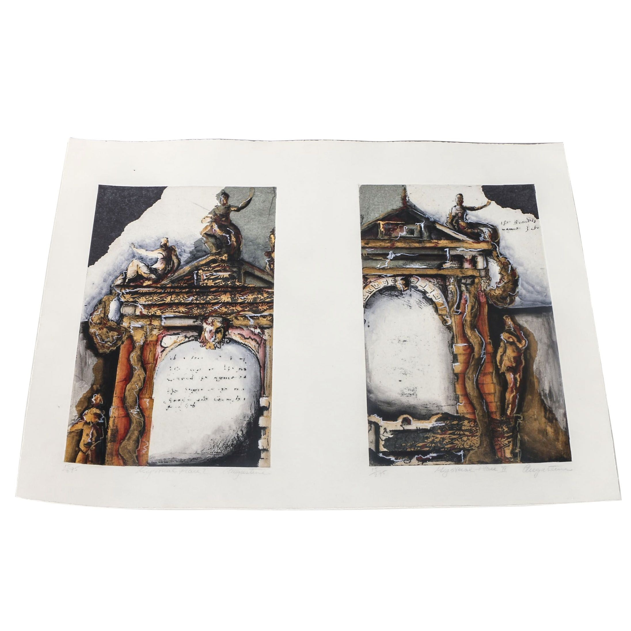 "Augustine Hand Embellished Etchings ""Mystical Place I"" and ""Mystical Place II"""