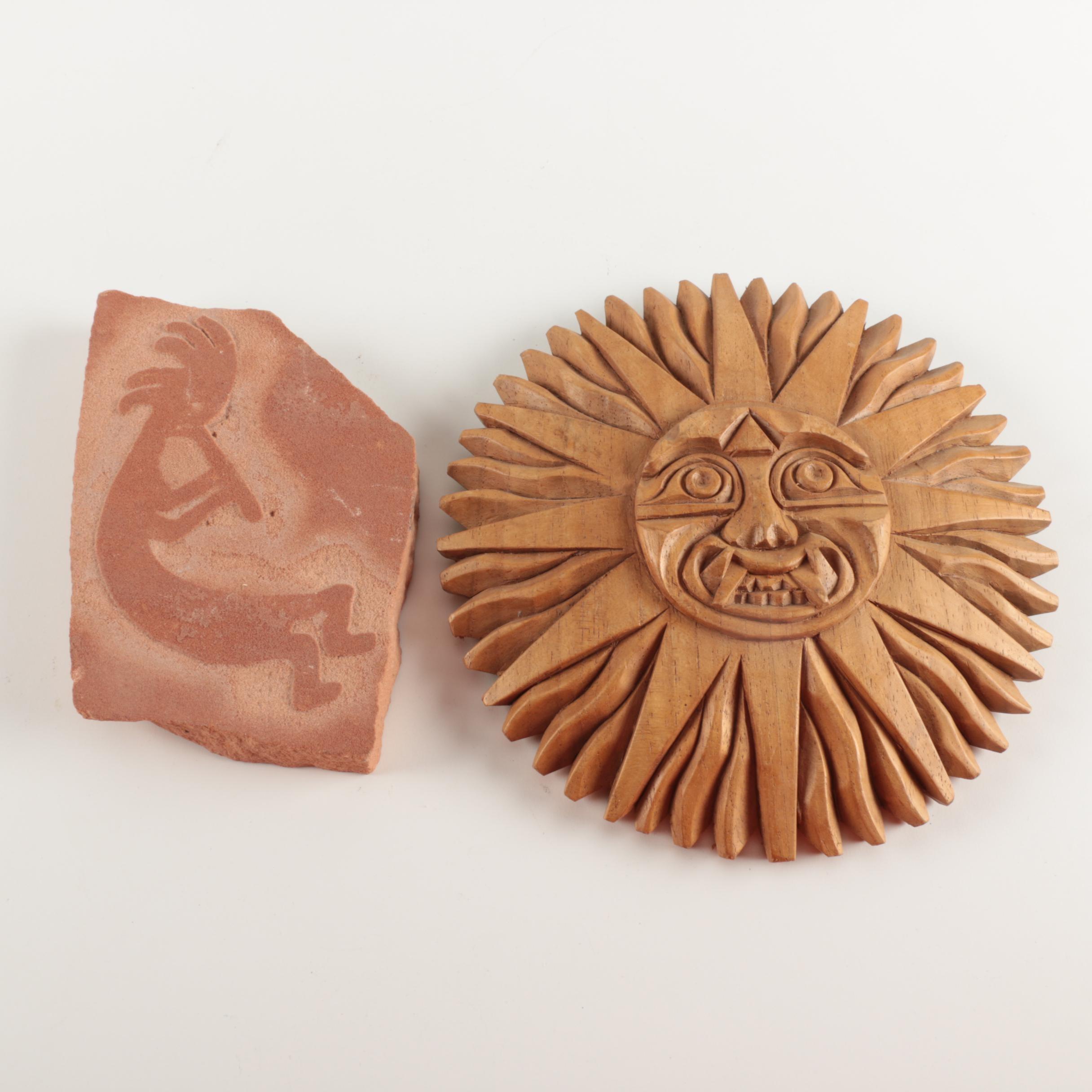 Ceramic Kokapelli and Carved Wood Mayan Sun God