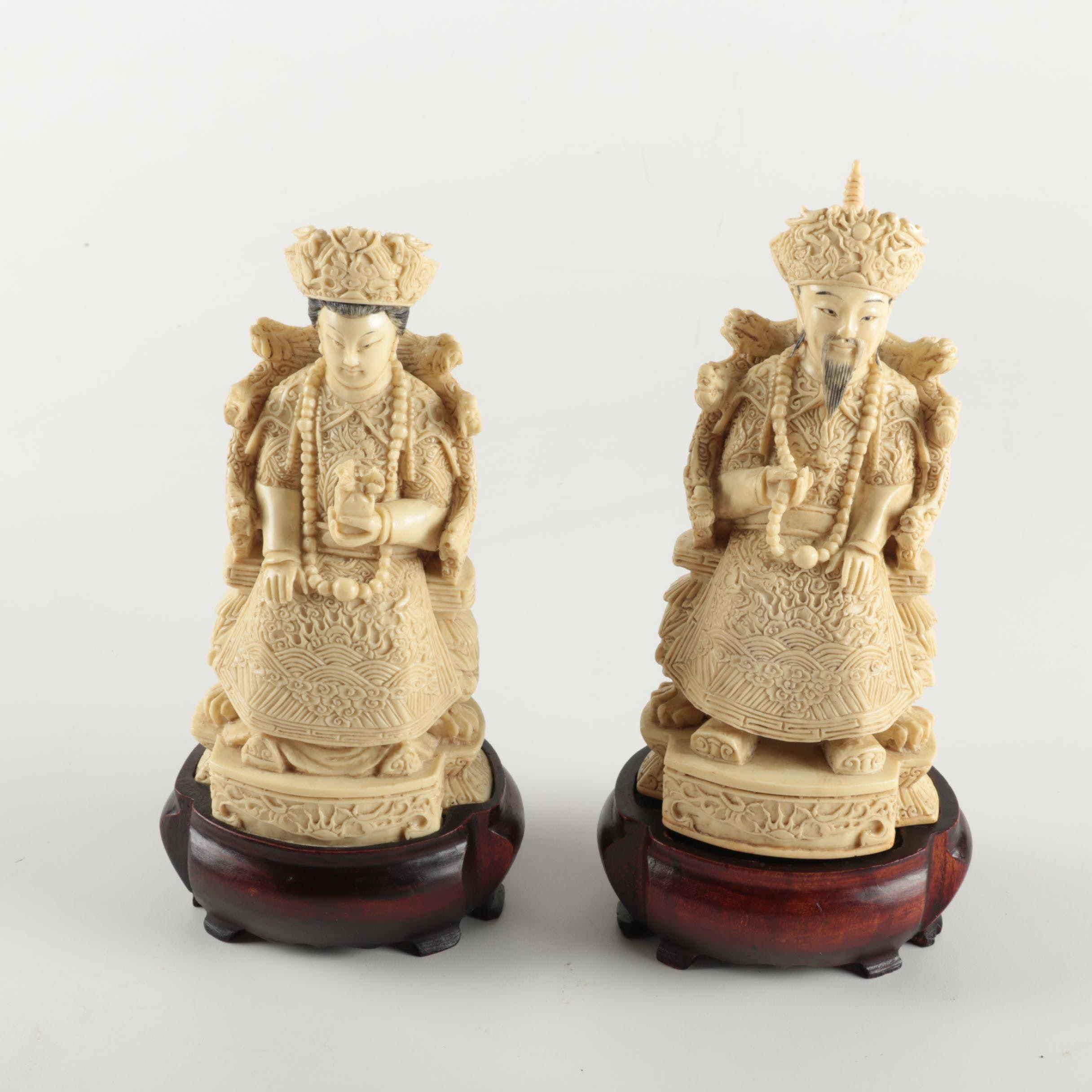 Resin Chinese Emperor and Empress Statuettes