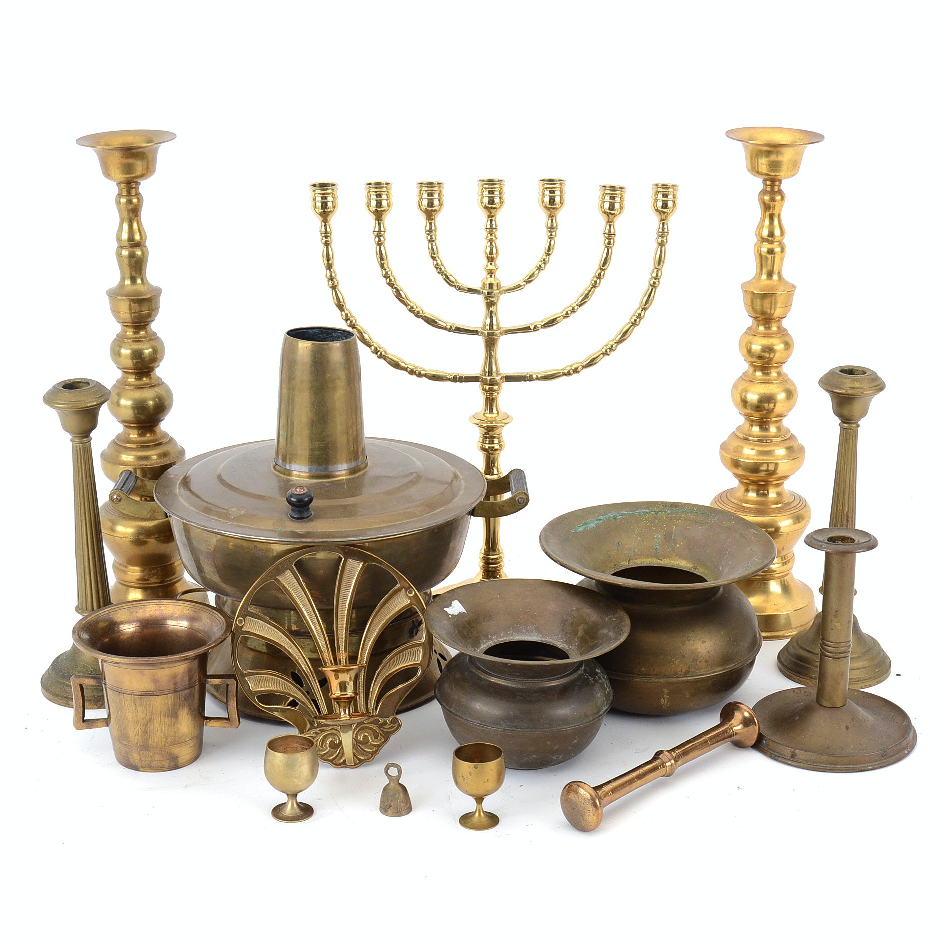 Collection of Mixed Brass Home Decorations