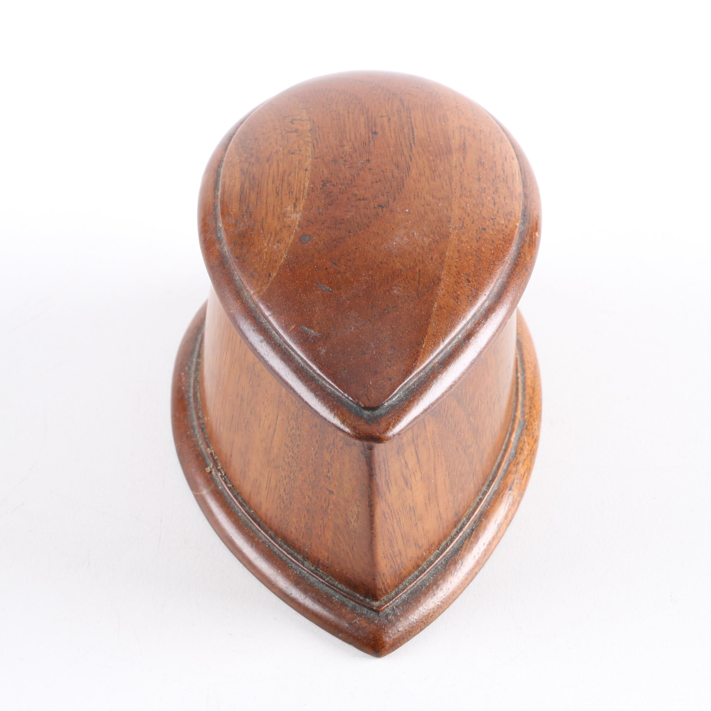 Ovoid Hand-Carved Wooden Box