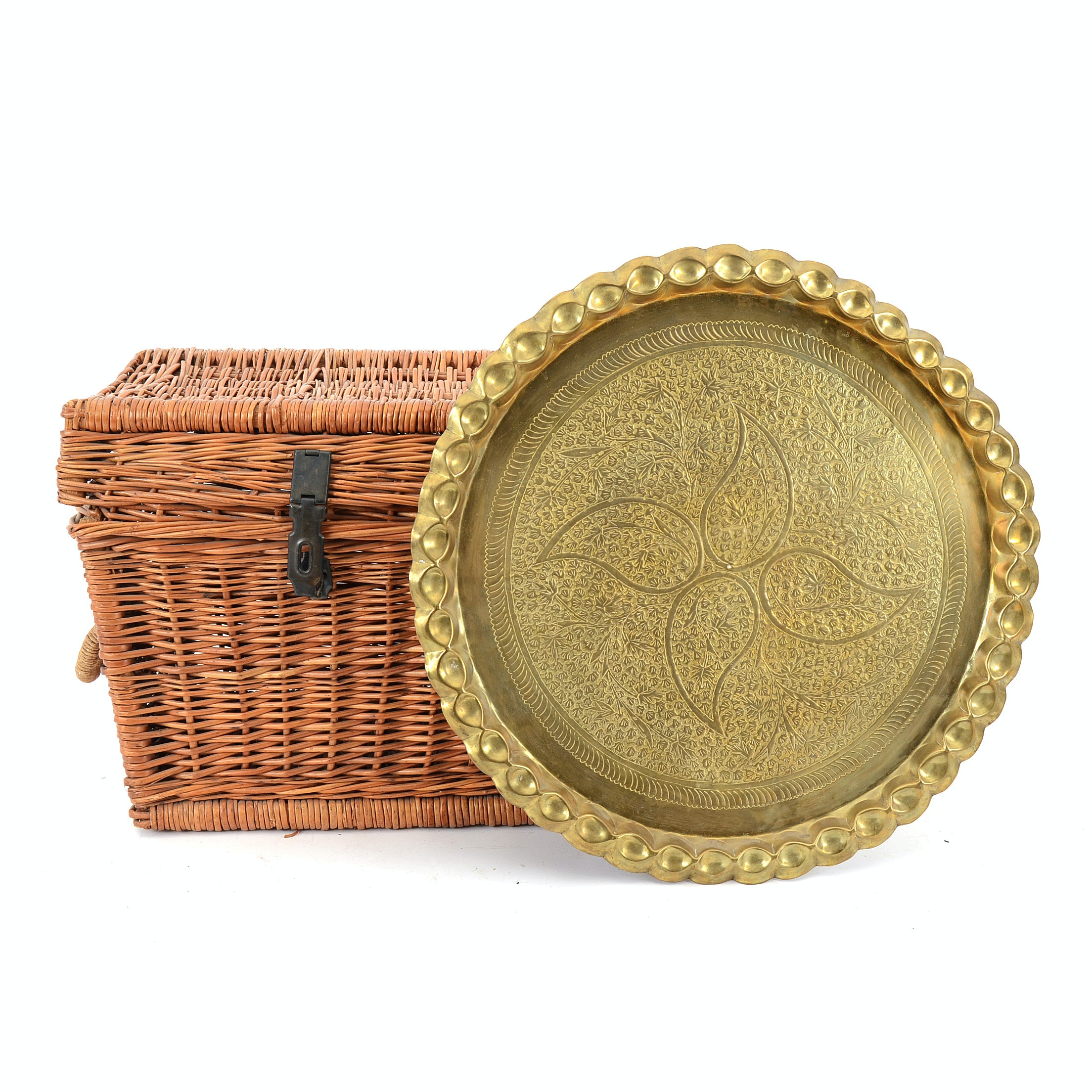 Large Willow Basket with Brass Wall Charger