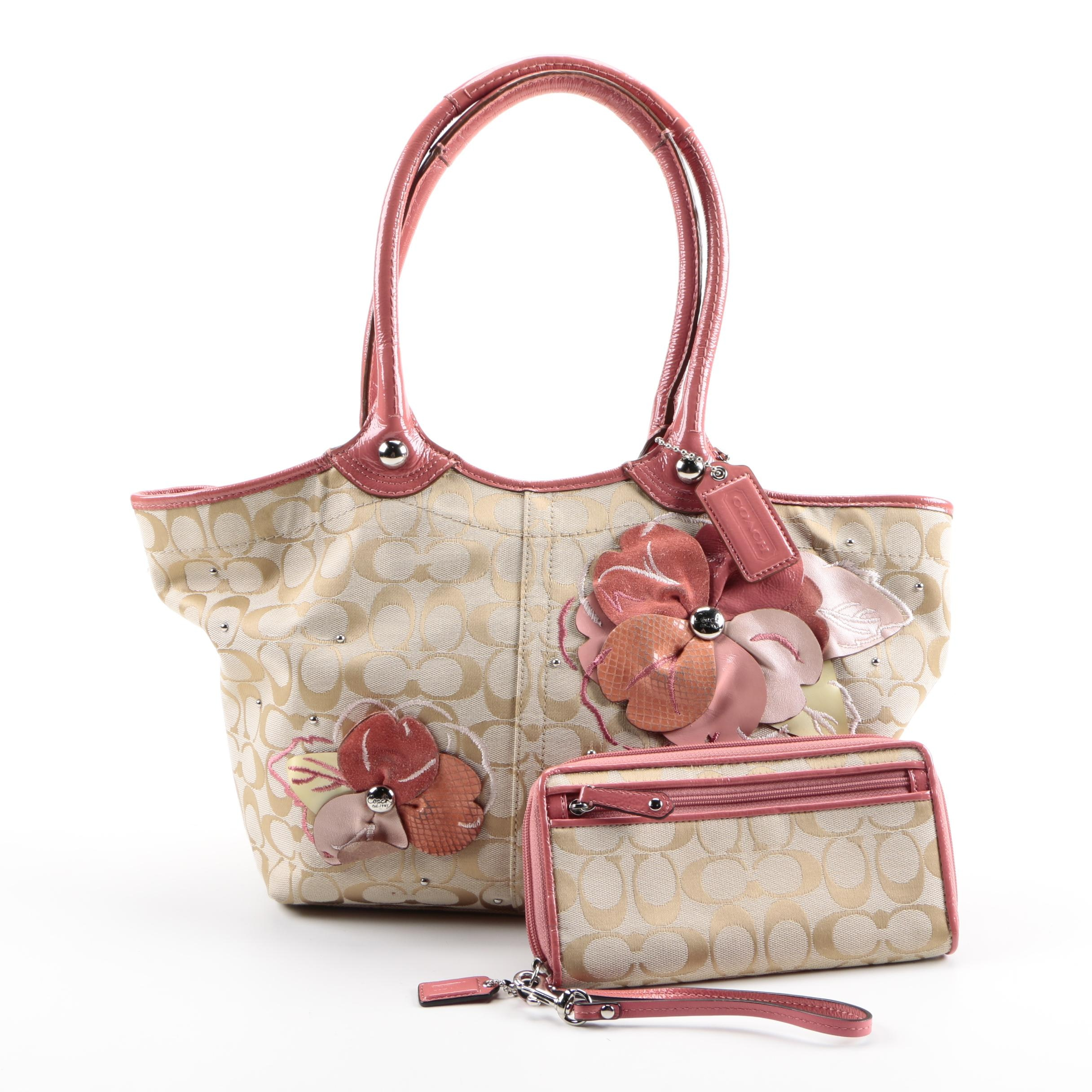 Coach Khaki Bleecker Floral Signature Canvas Tote and Wallet