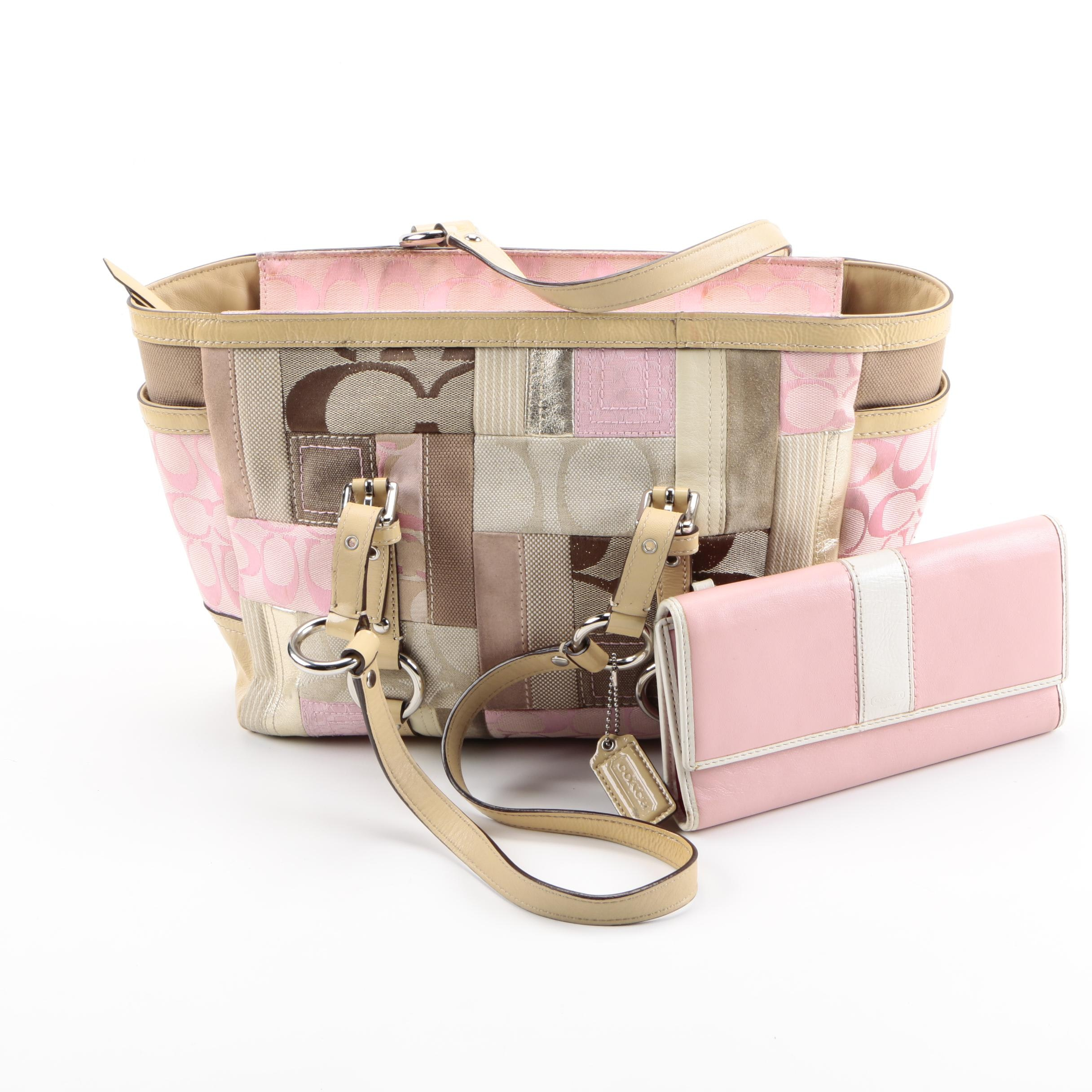 Coach Pink Patchwork Tote and Leather Wallet