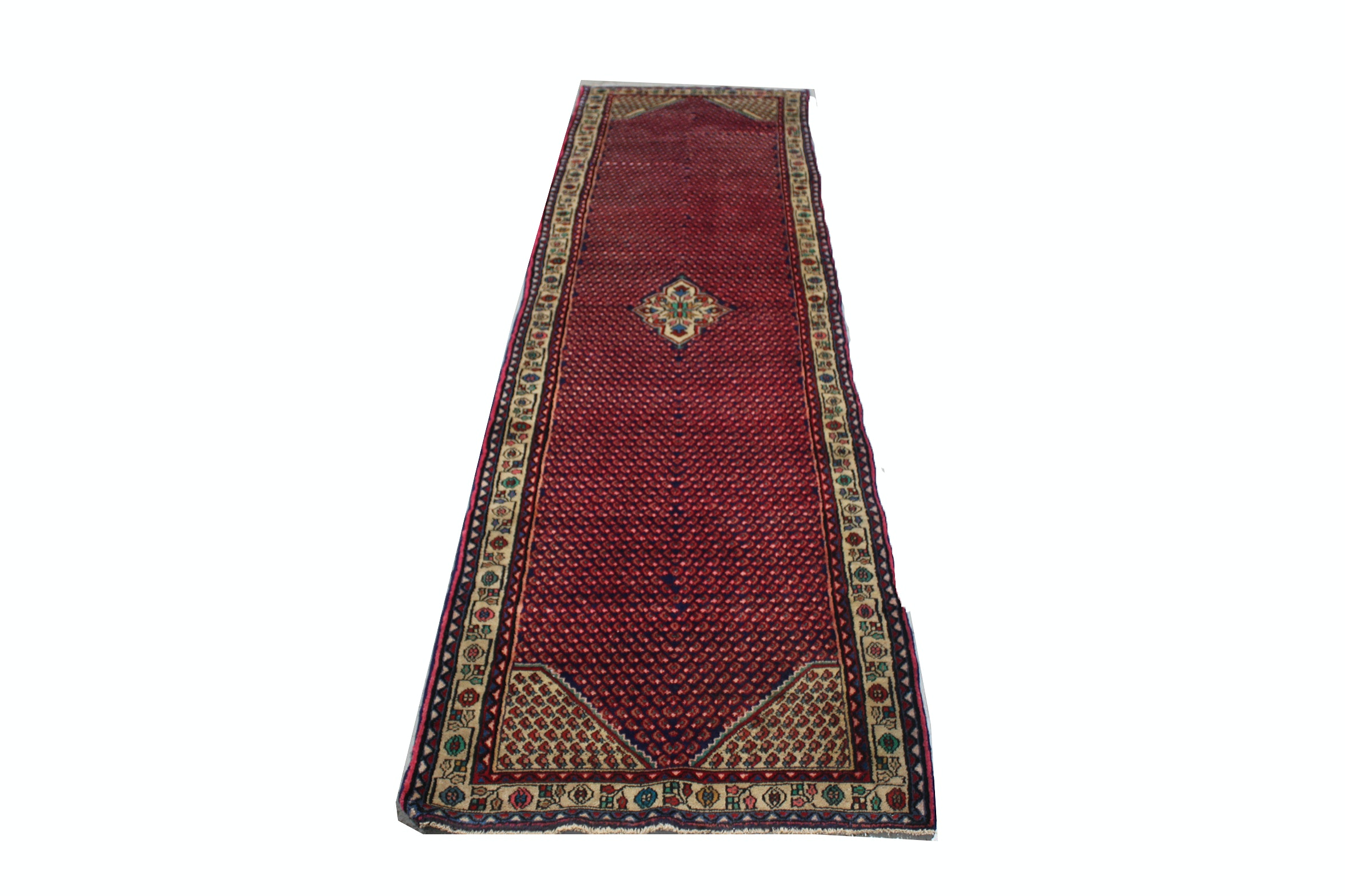 Hand-Knotted Persian Malayer Boteh Wool Runner