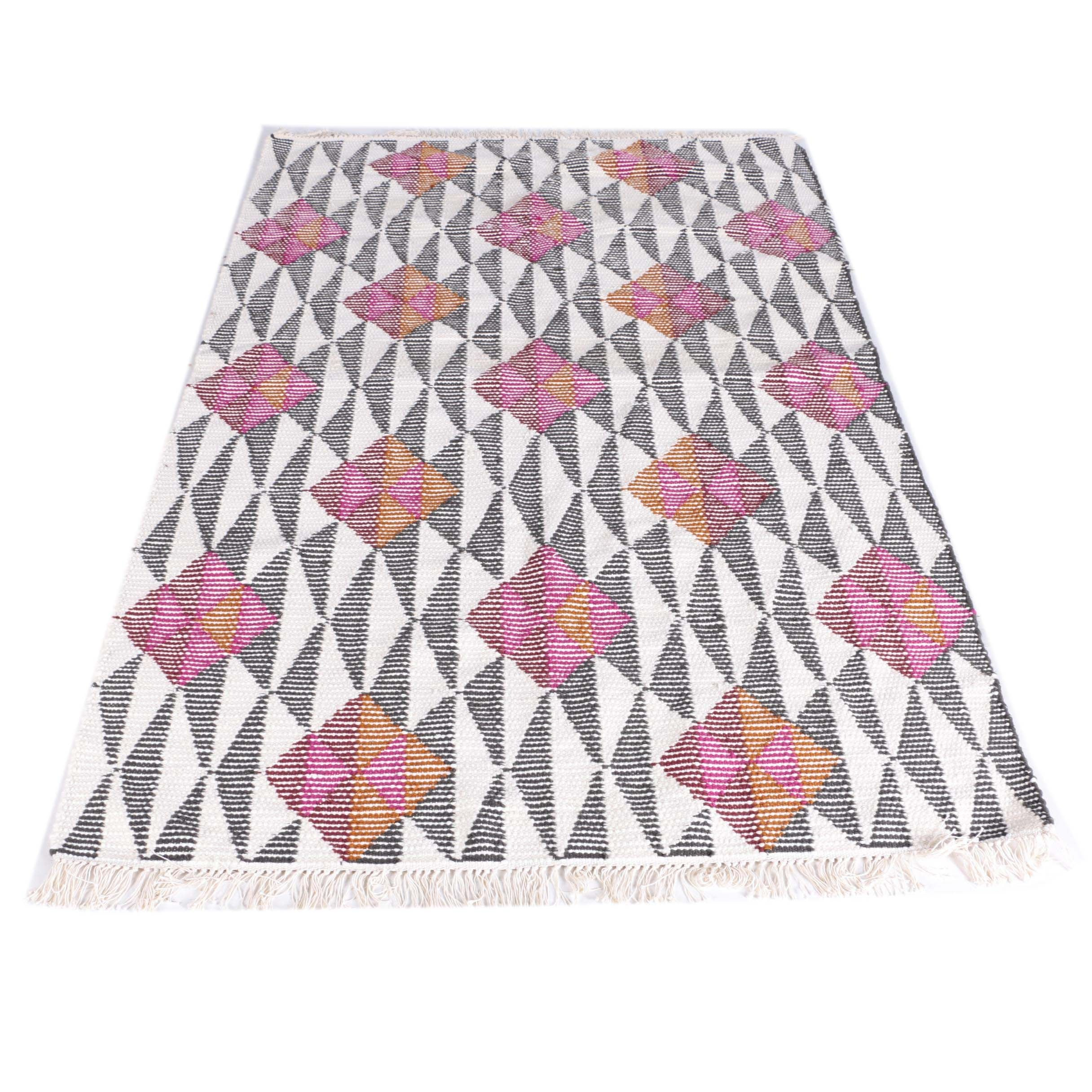 Handwoven Indian Wool and Cotton Area Rug