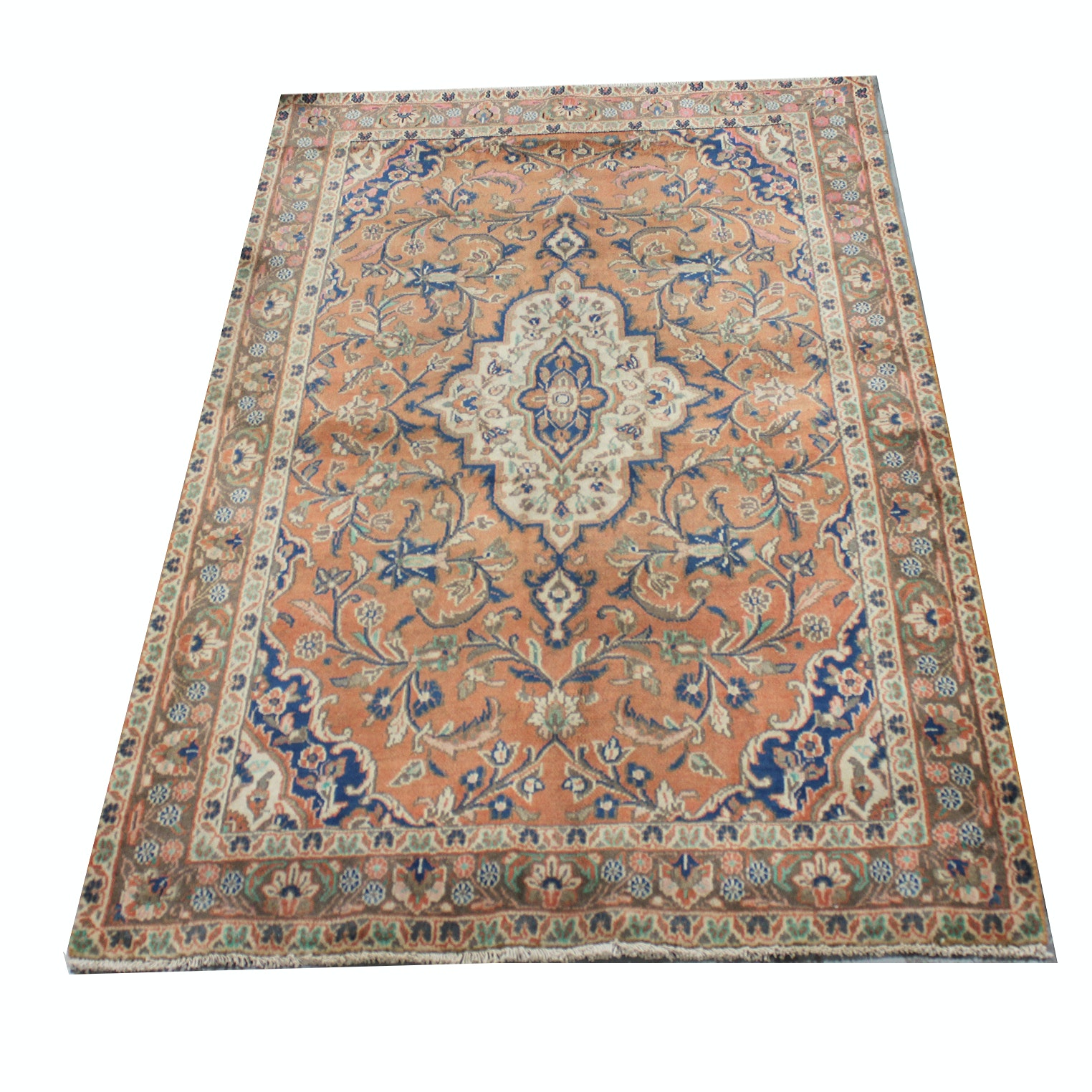 Hand-Knotted Semi-Antique Persian Mallayer Sarouk Rug