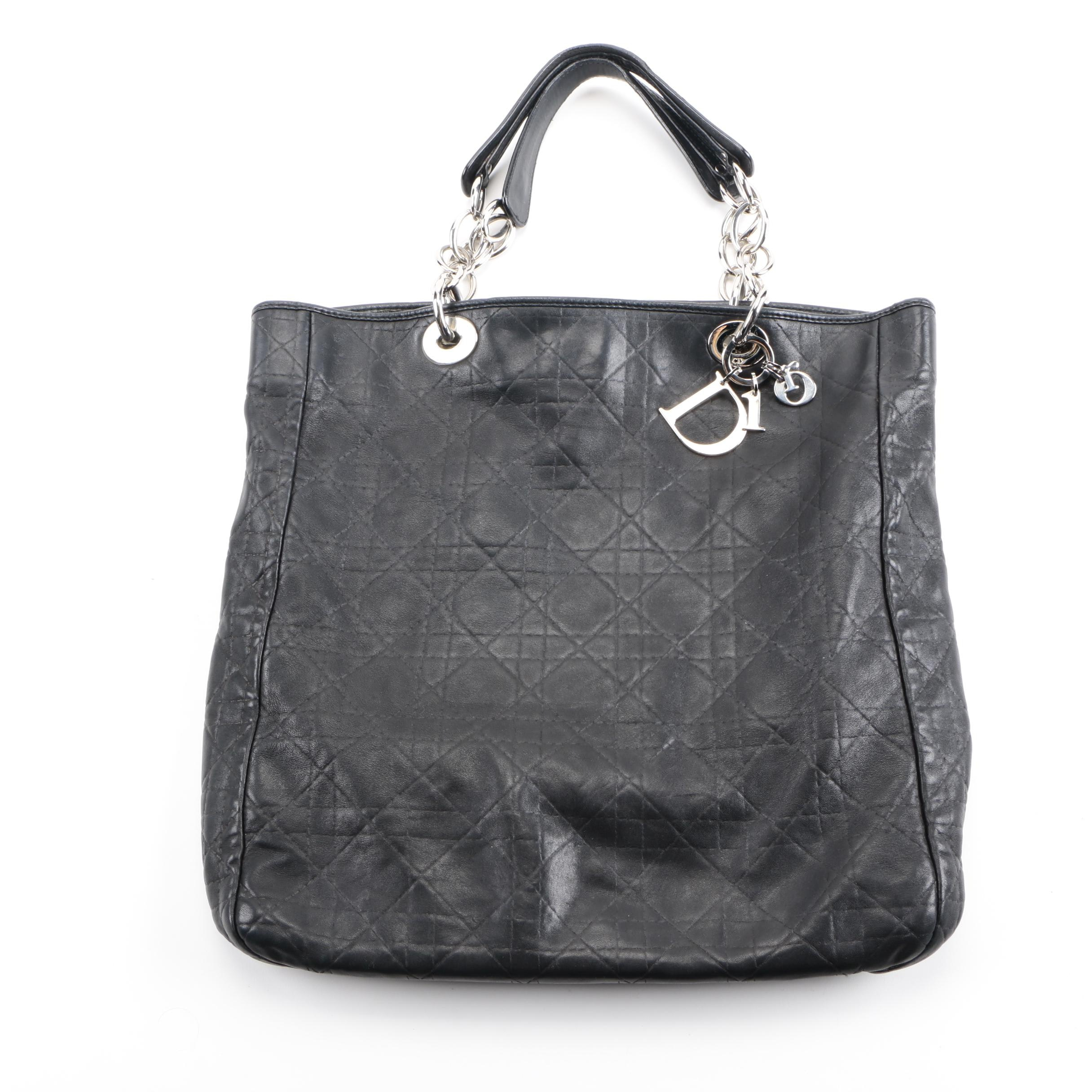 Dior Black Cannage Quilted Lambskin Leather Tote Bag