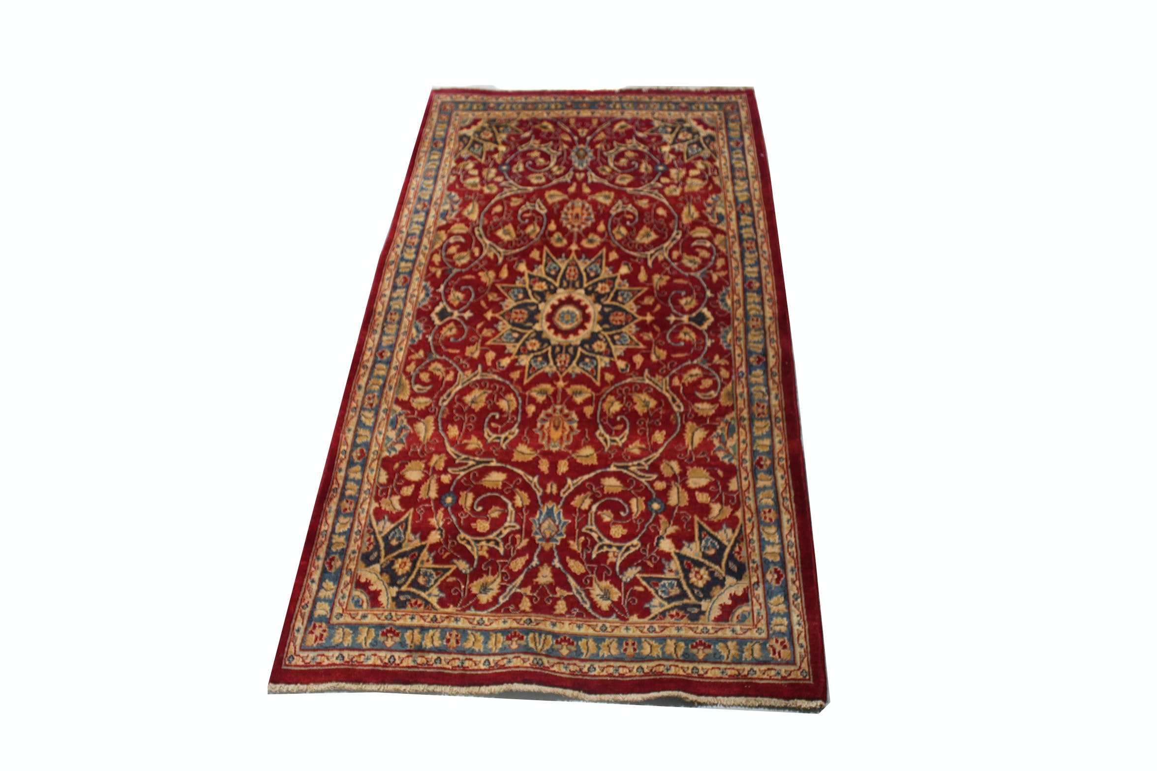 Hand-Knotted Semi-Antique Persian Kashan Rug Runner