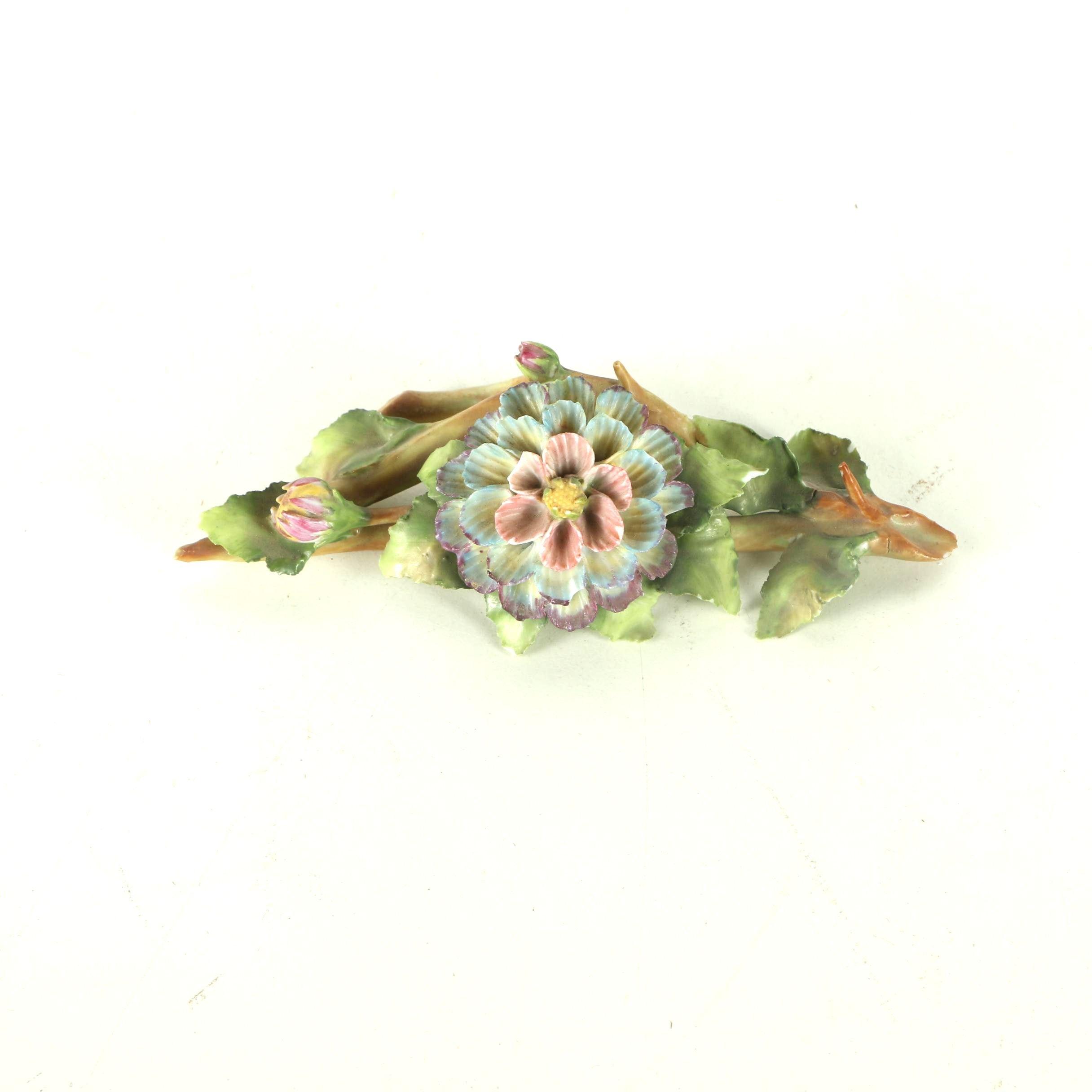 Signed Porcelain Sculpture of Floral Buds on a Vine