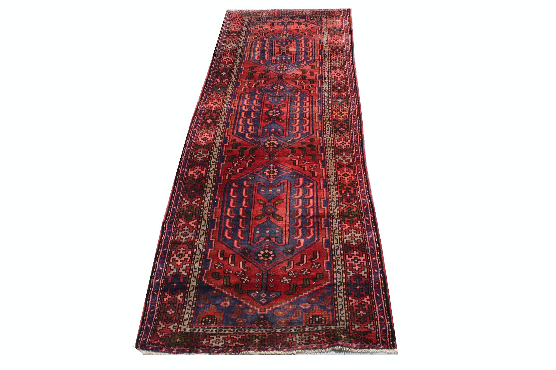 Hand-Knotted Persian Serapi Heriz Wool Runner