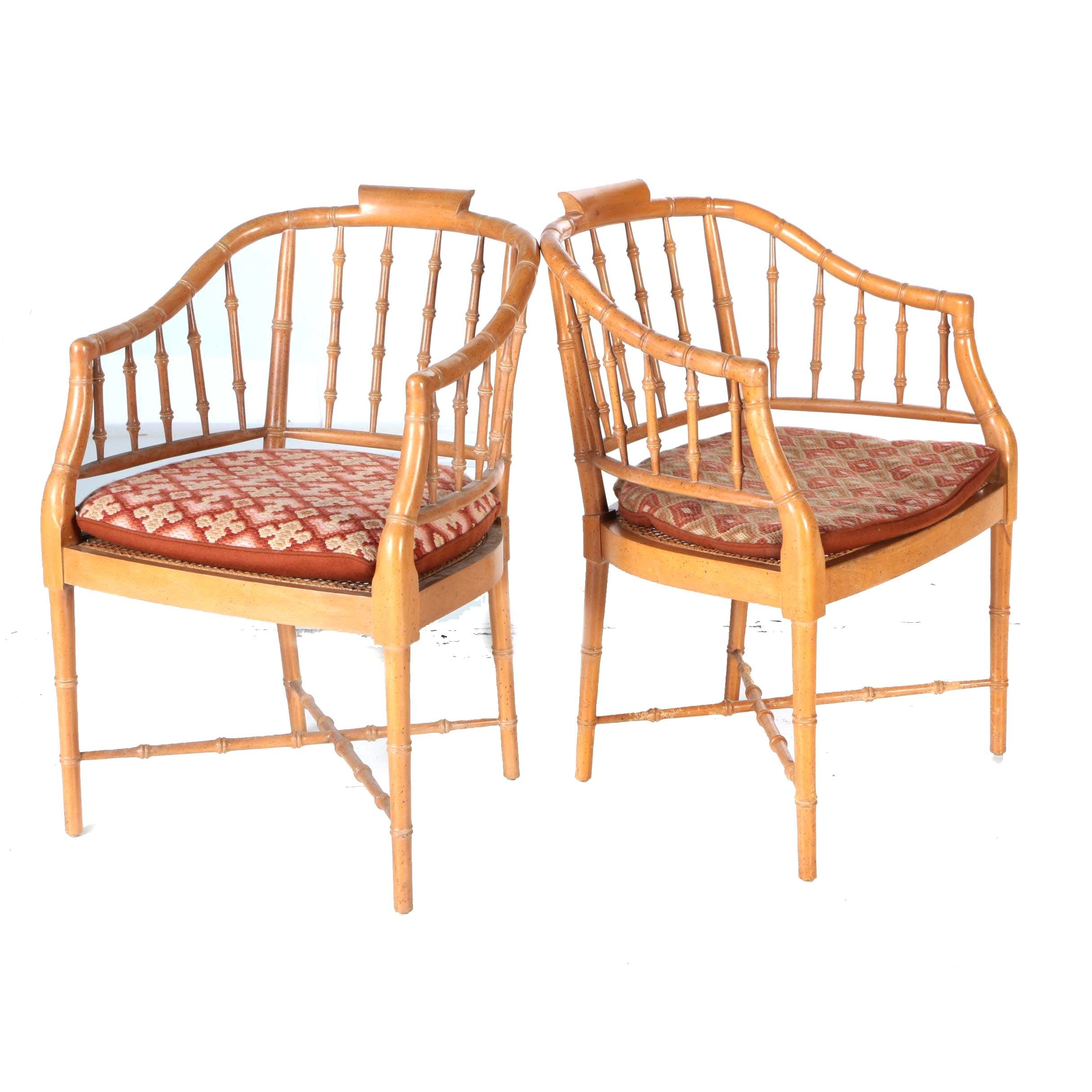 Pair of Faux Bamboo Barrel Back Chairs