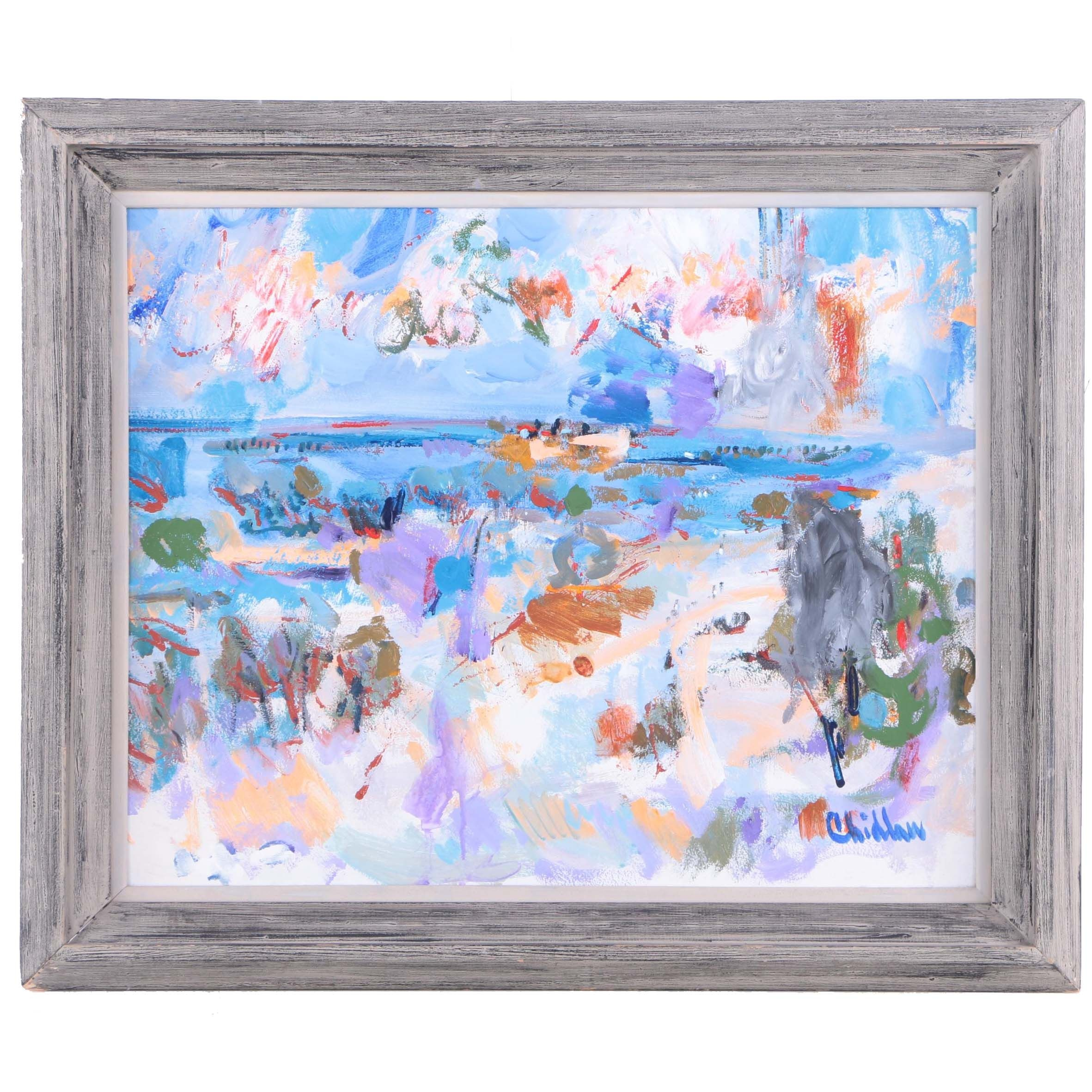 Paul Chidlaw Oil Painting on Canvas Beach Landscape