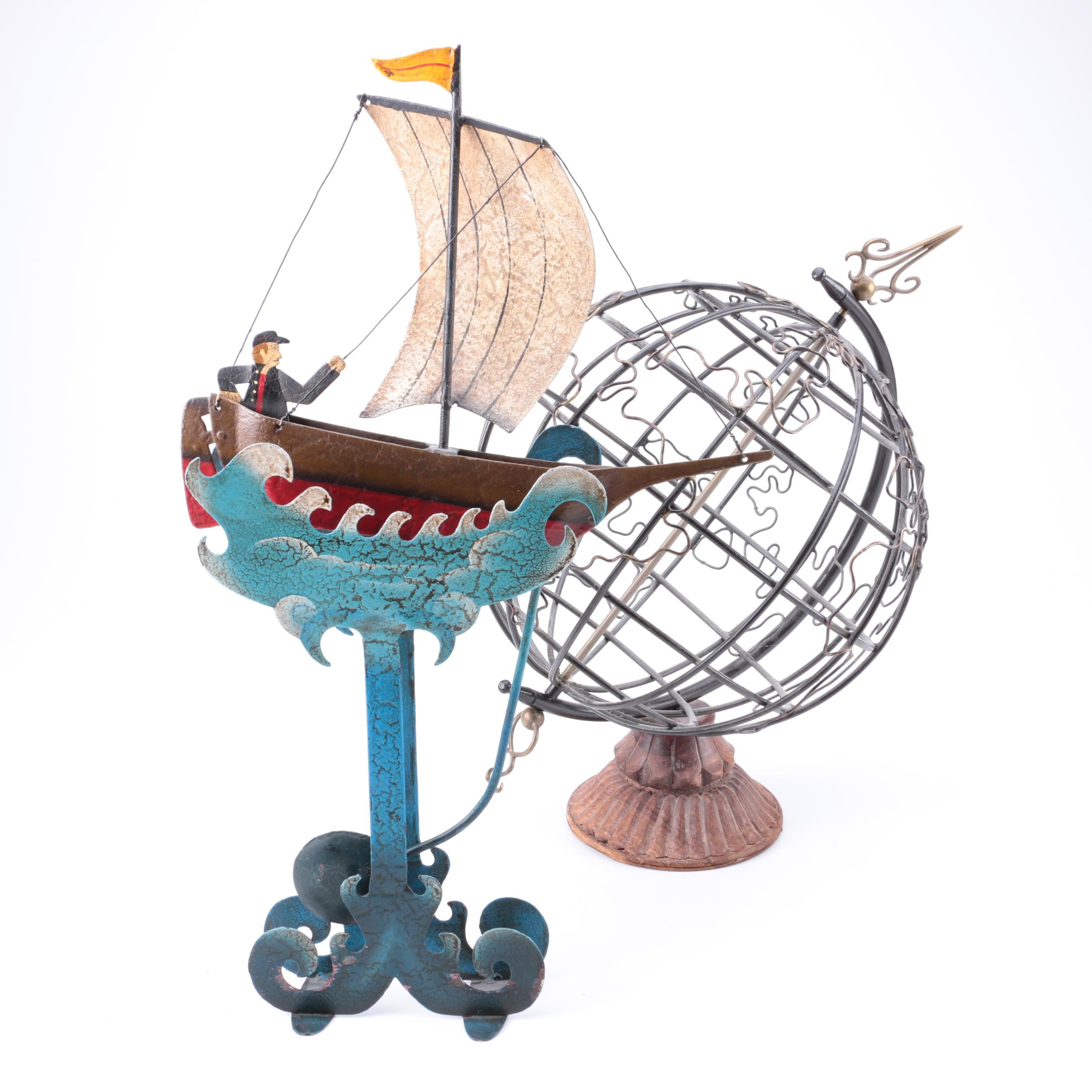 """Authentic Models """"Riding the Waves Sky Hook"""" and Metal Globe Décor"""