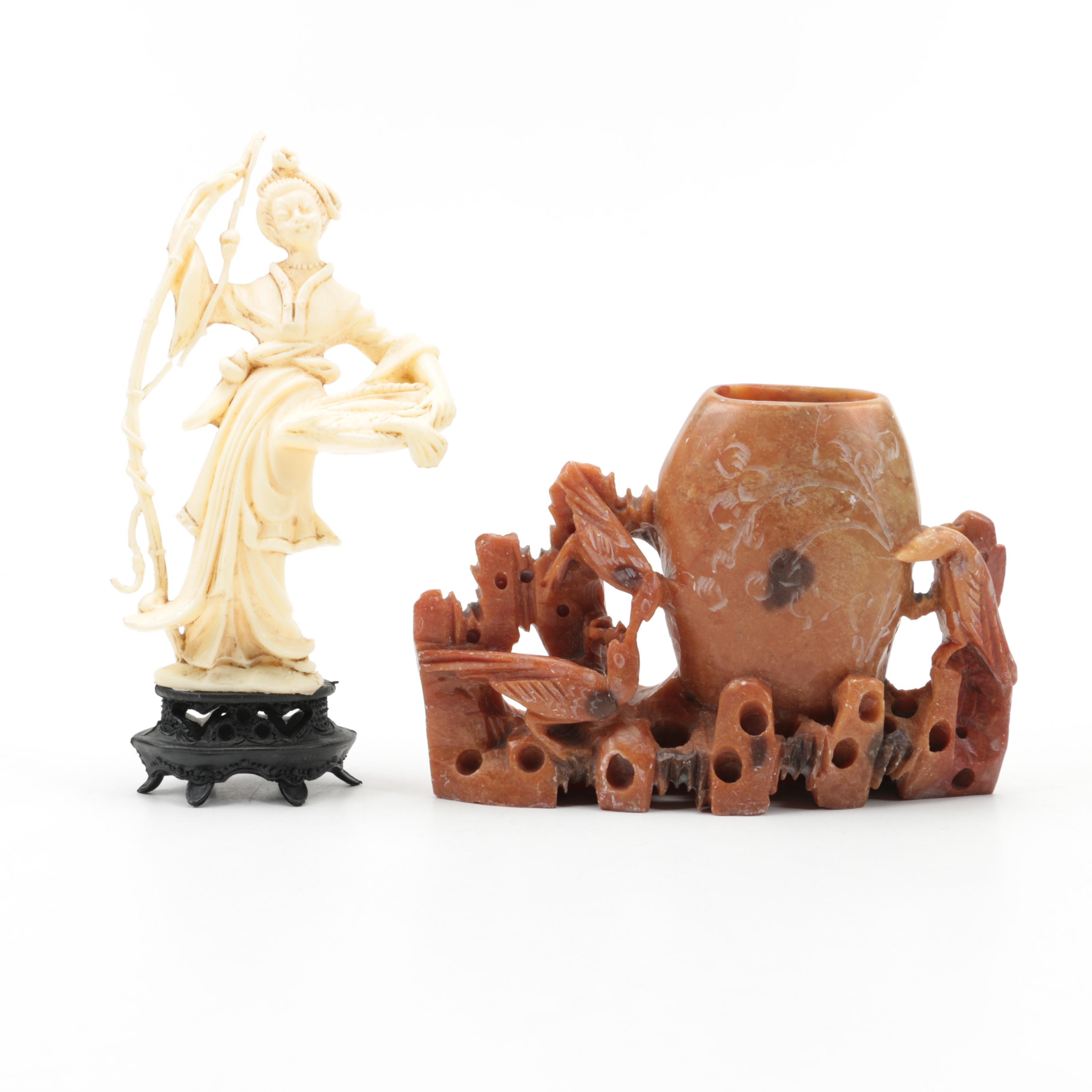Soapstone Vase with Plastic Figurine