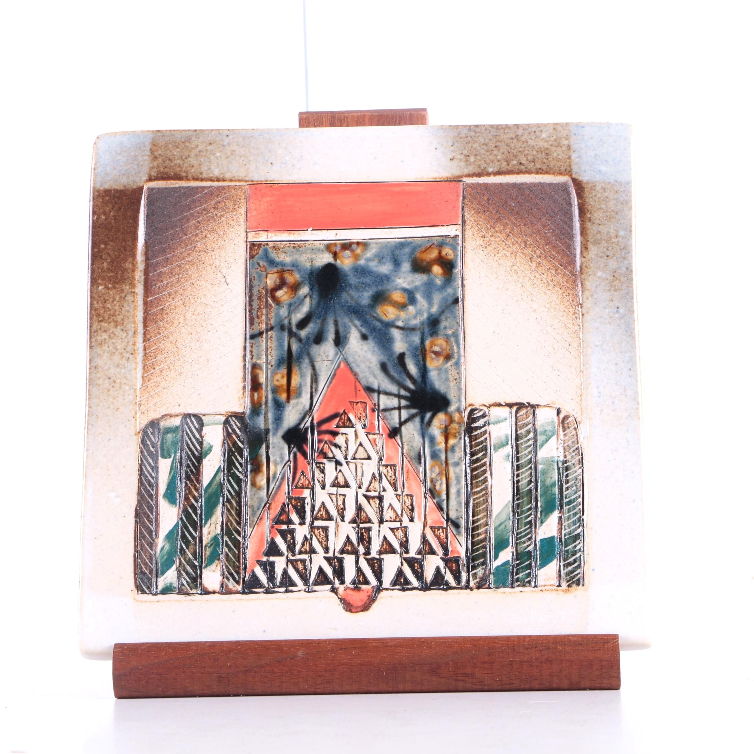 Hand Painted Ceramic Tile with Wooden Stand