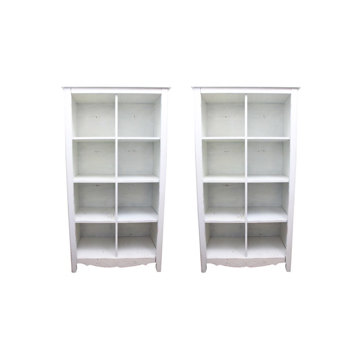 Pair of White Painted Wood Freestanding Shelves