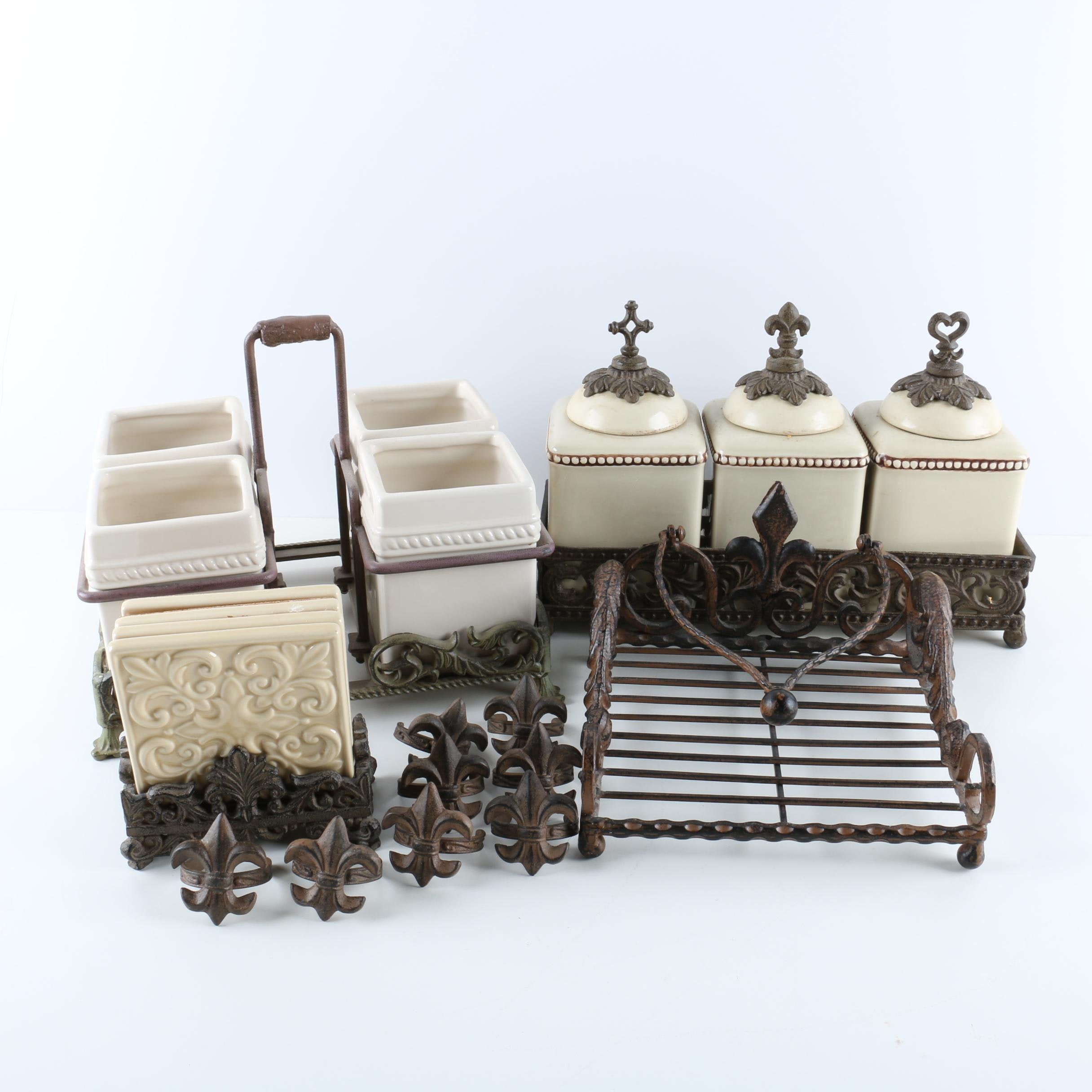 Ceramic Canisters and Flatware Caddy with Napkin and Coaster Set ... & Ceramic Canisters and Flatware Caddy with Napkin and Coaster Set : EBTH