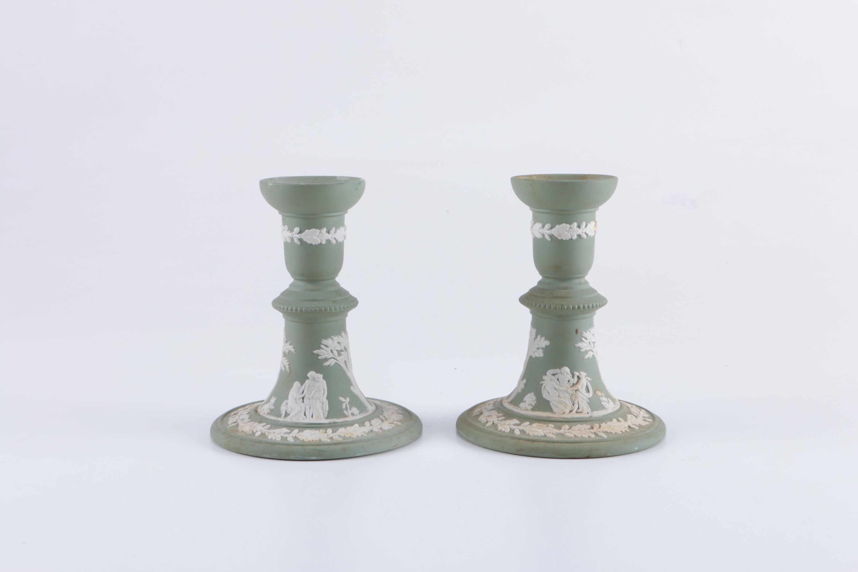 Pair of Wedgwood Jasperware Candlestick Holders