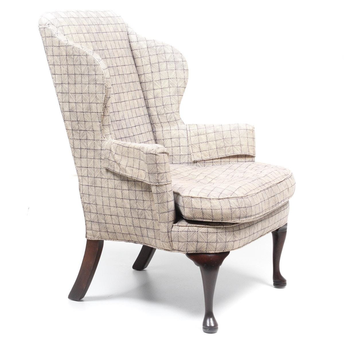 Custom Upholstered Wing Back Armchair Ebth