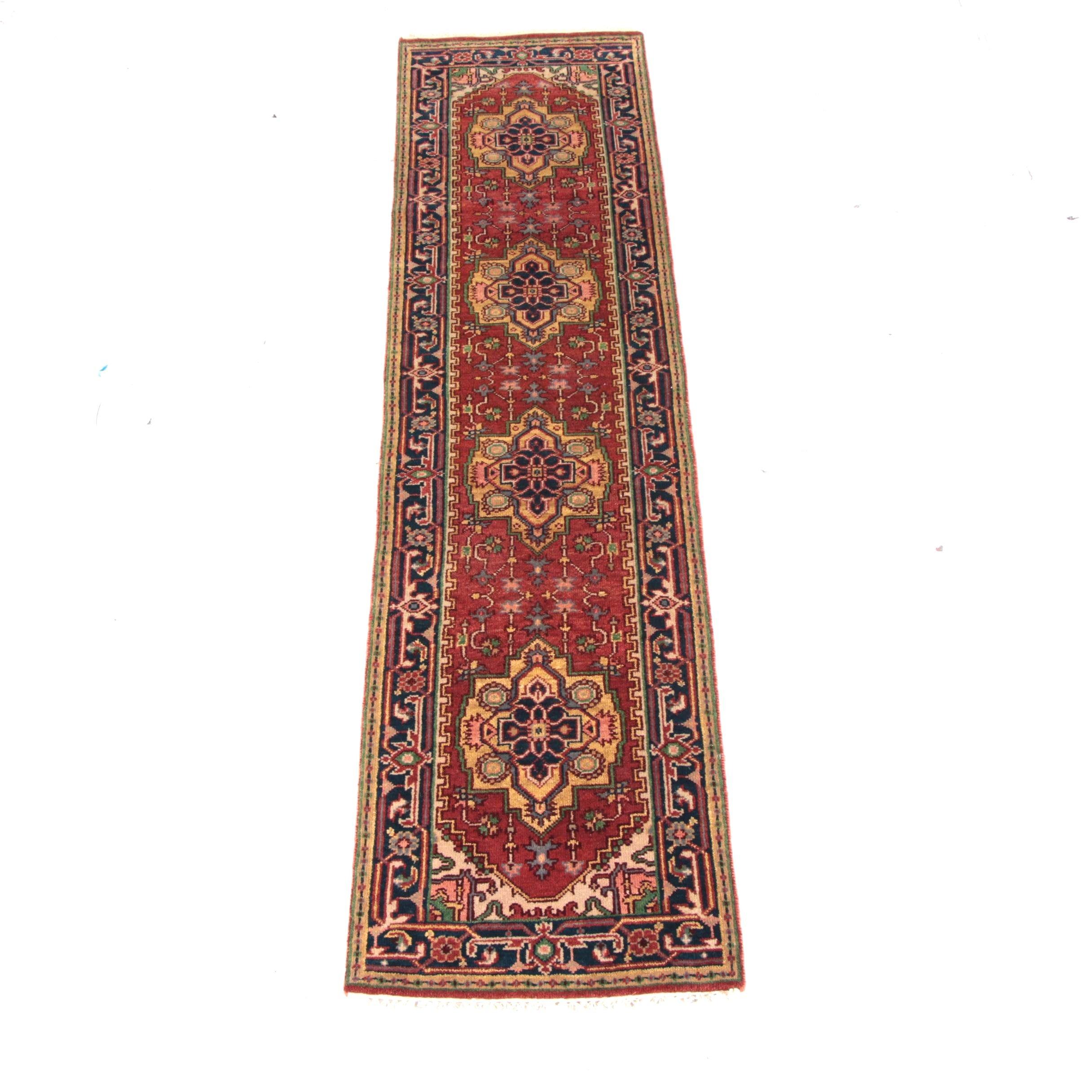 Hand-Knotted Indo-Heriz Carpet Runner