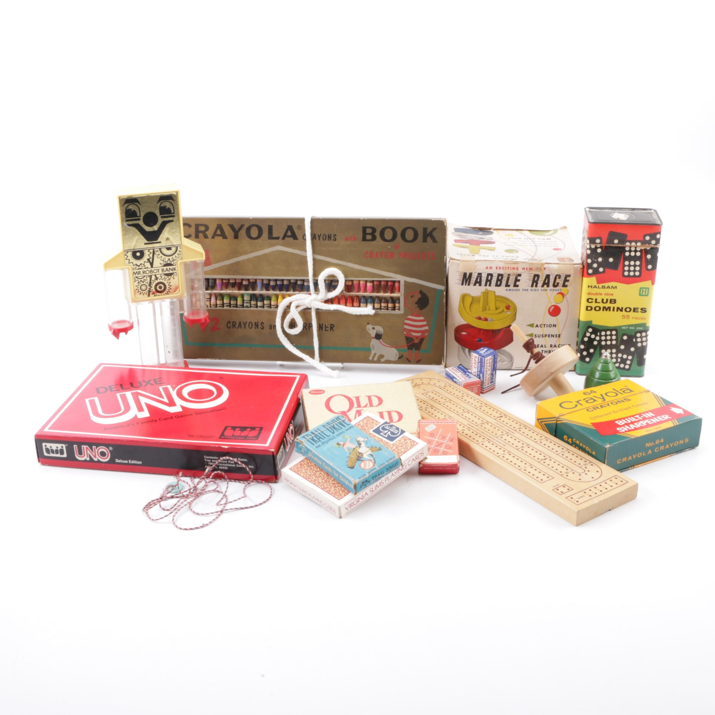 Vintage Toys and Games Including 1960s–70s Crayola Crayons