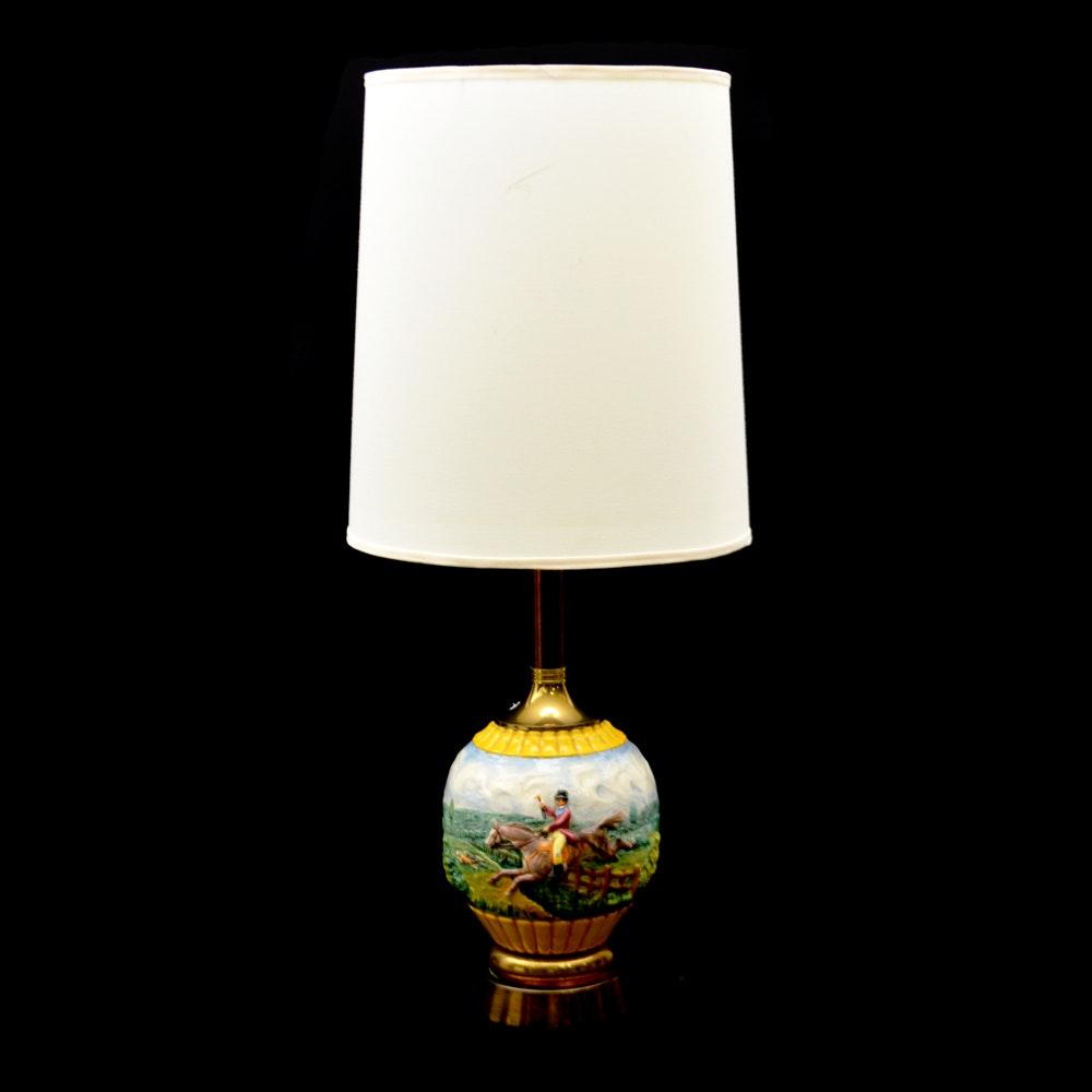 Vintage Ceramic Hunting Scene Table Lamp