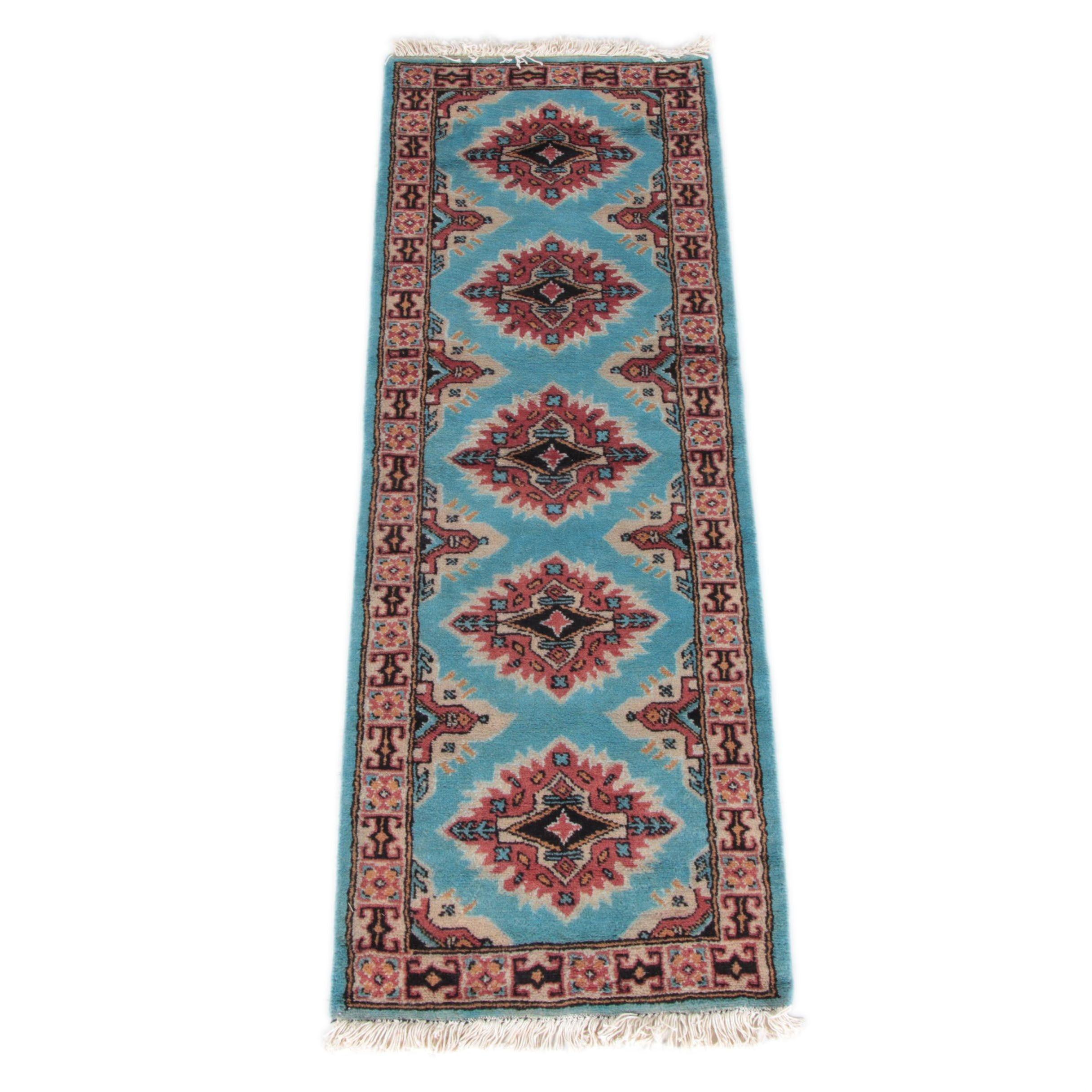 Hand-Knotted Pak-Kazak Bokhara Carpet Runner