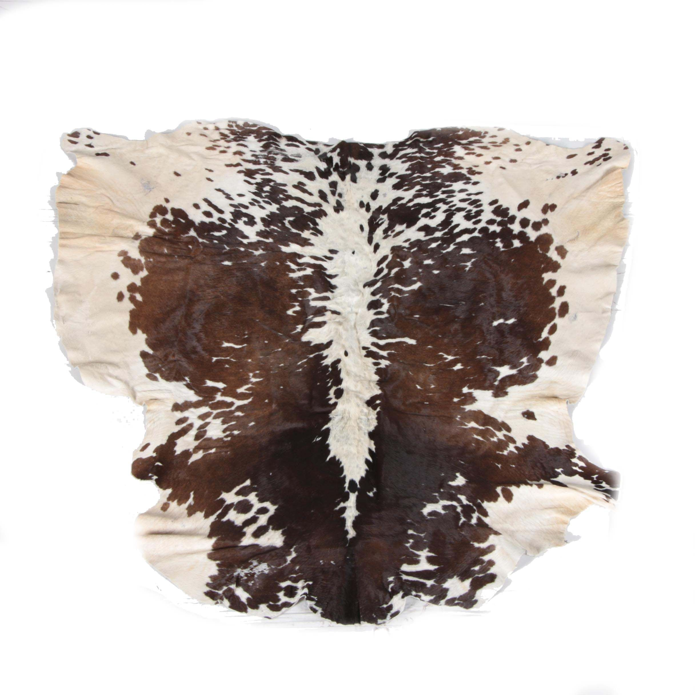 White and Brown Cow Hide Rug