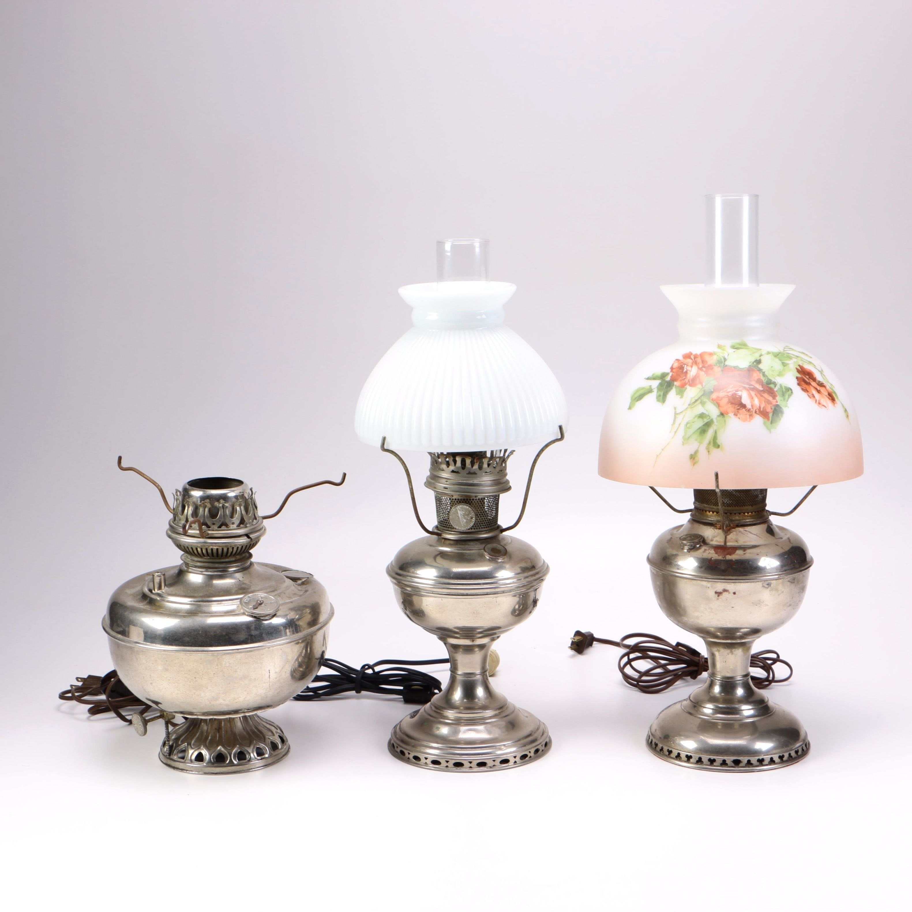 Silver-Tone Electric Hurricane Lamps