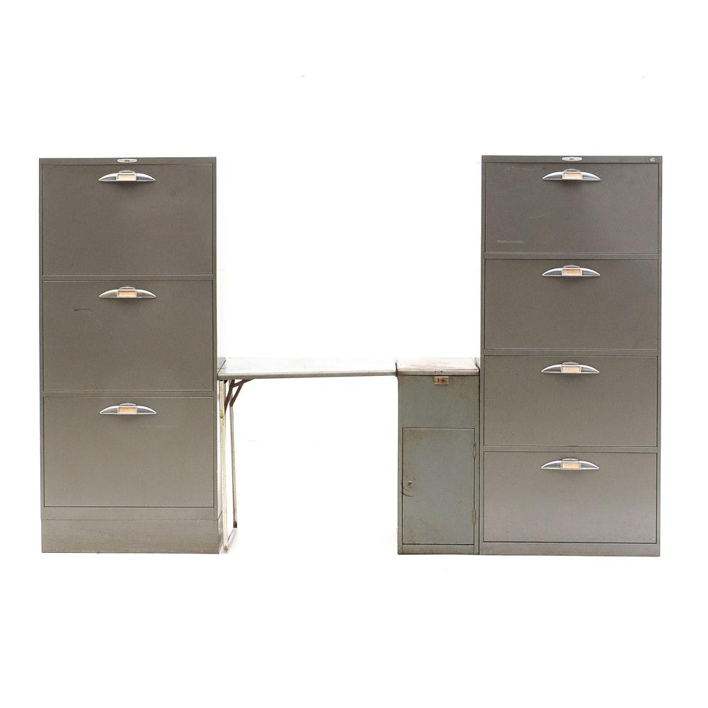 Three Vintage Metal File Cabinets