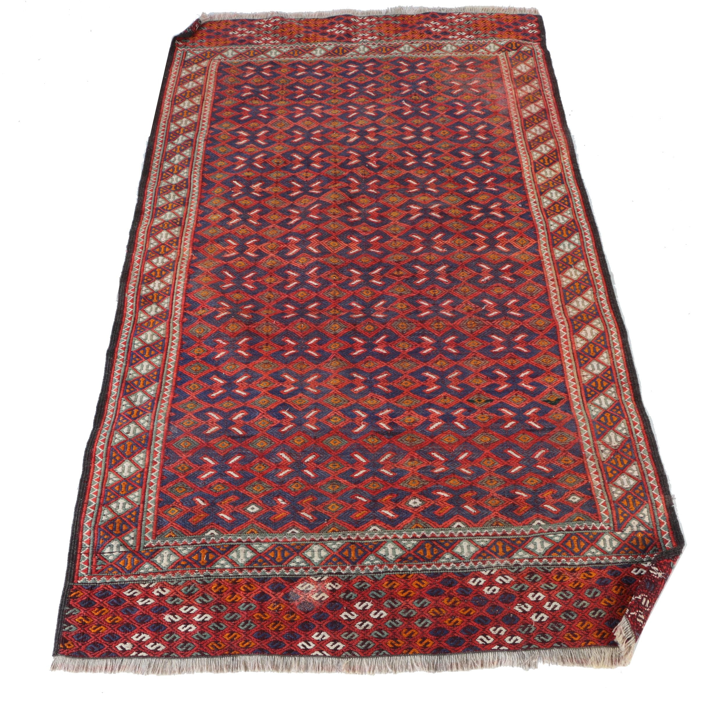 Handwoven and Embroidered Turkmen Wool Area Rug
