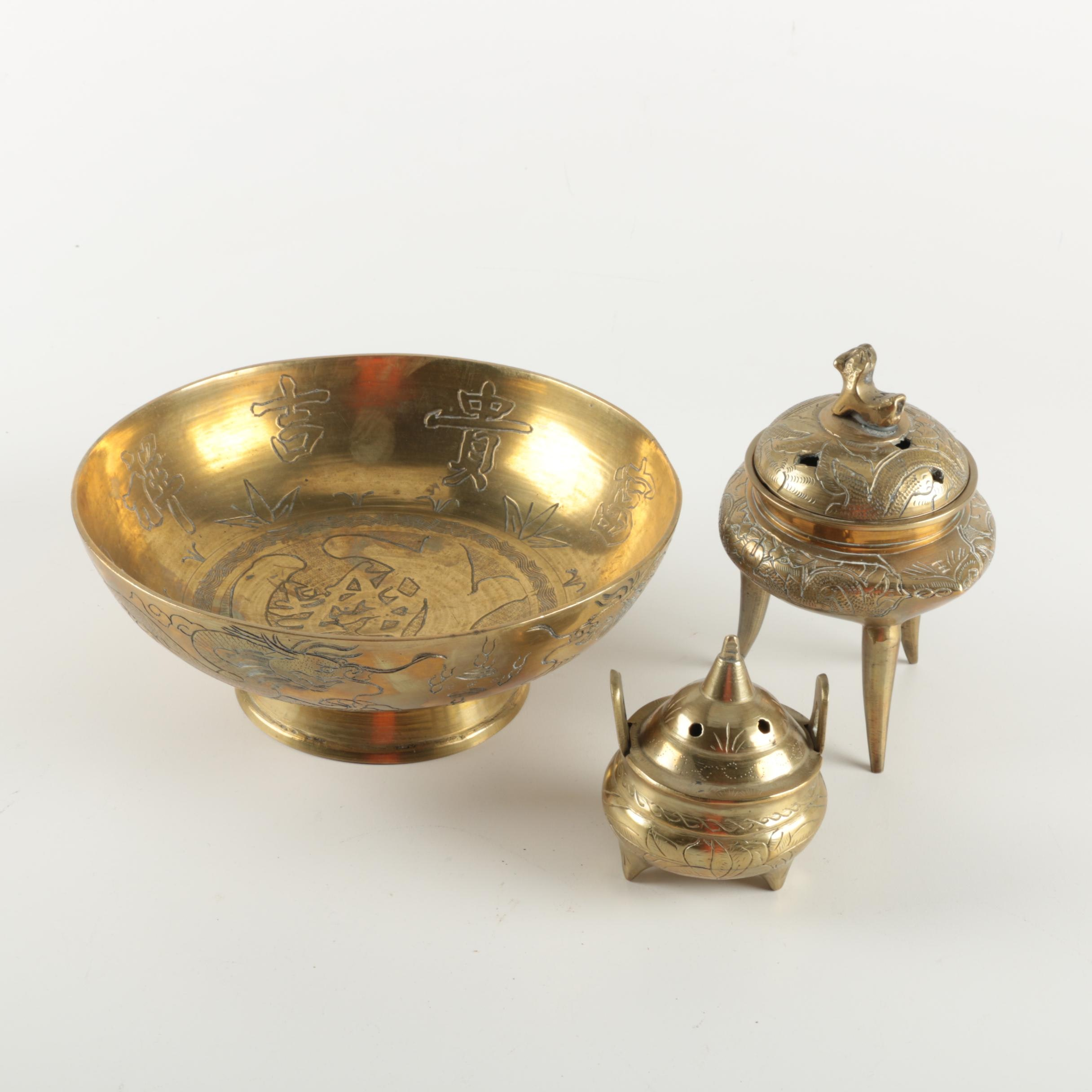 Three Brass Decor Items