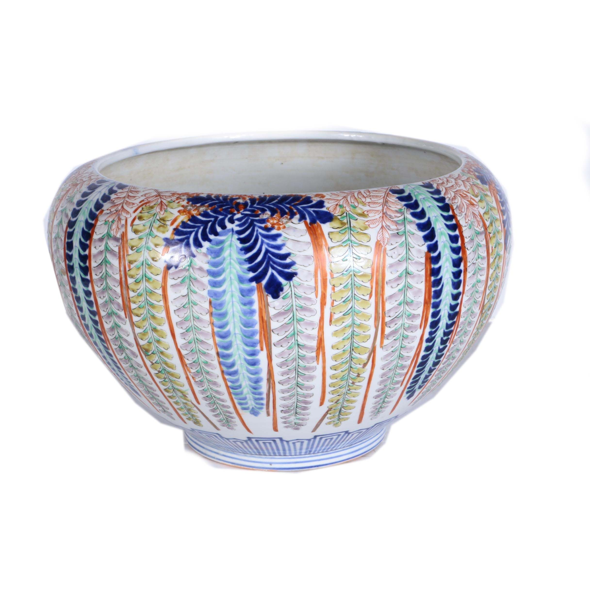 Asian Style Hand Painted Stoneware Planter