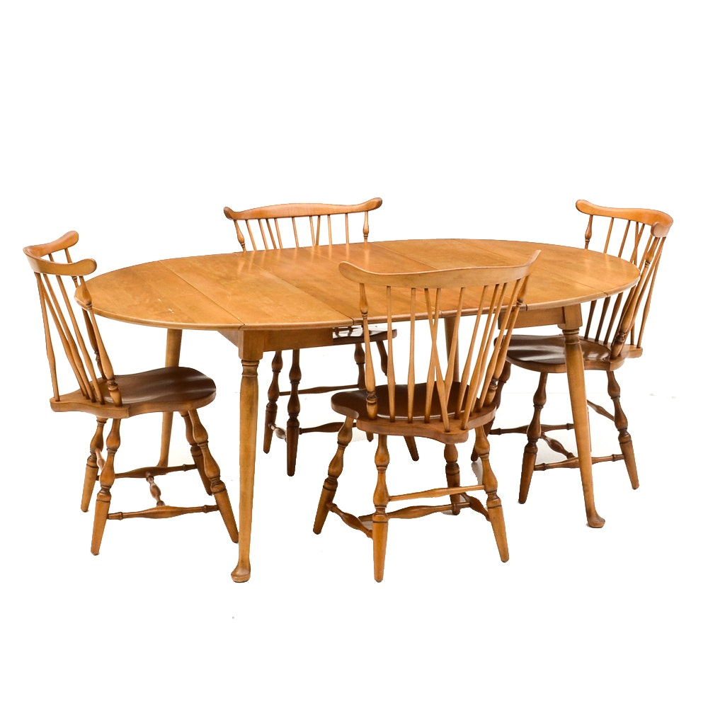 Early American Maple Drop-Leaf Table and Four Windsor Side Chairs
