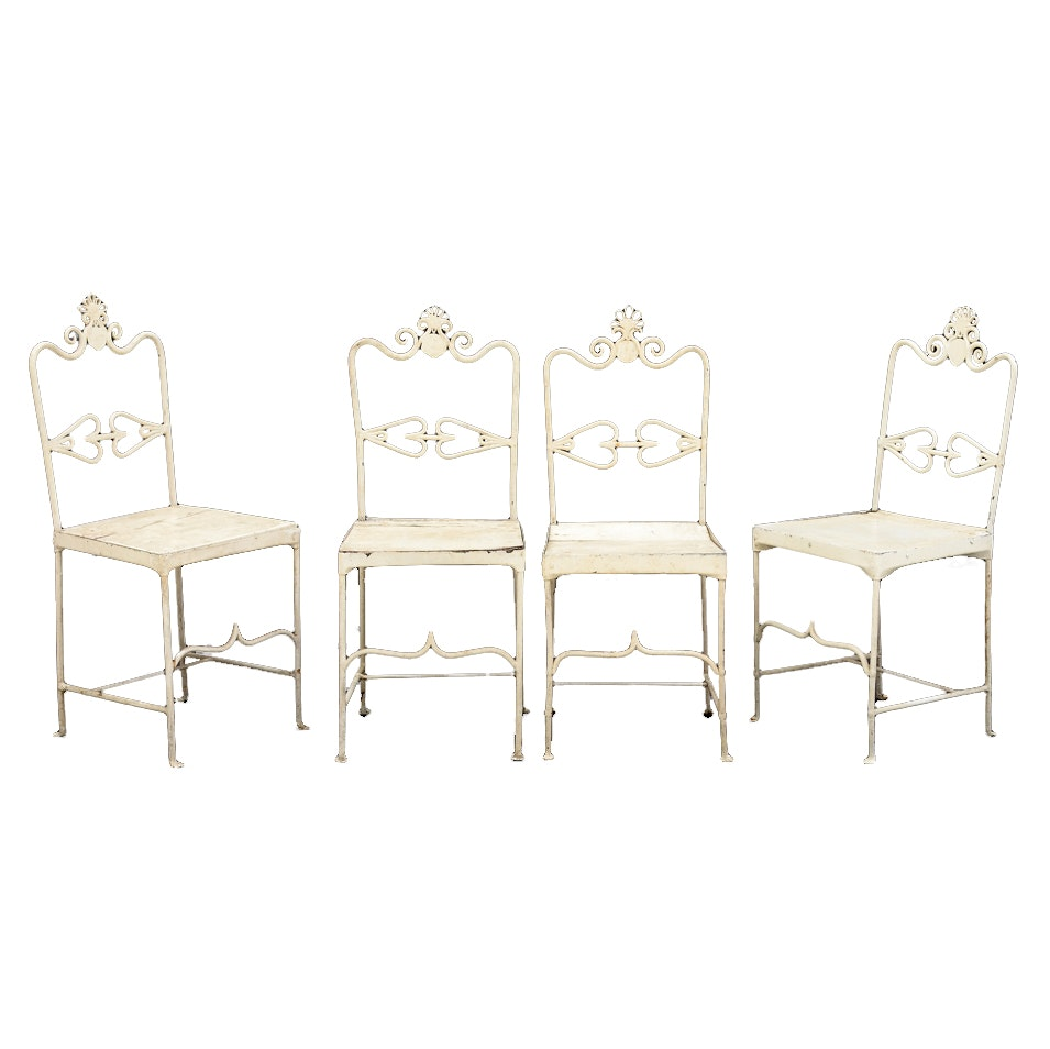 Set of Four Antique Wrought Iron Patio Side Chairs