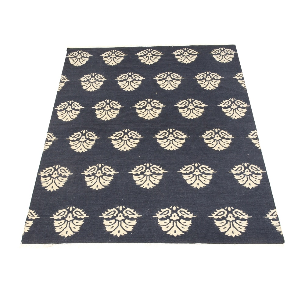 Hand-Knotted Area Rug in Dark Blue