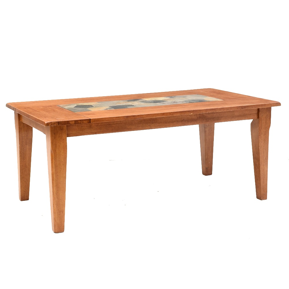 Alder Dining Table with Inset Slate Tile Top