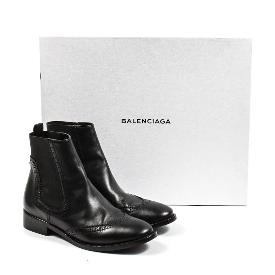 c53bd665e90f Balenciaga Black Leather Wing Tip Chelsea Boots   EBTH