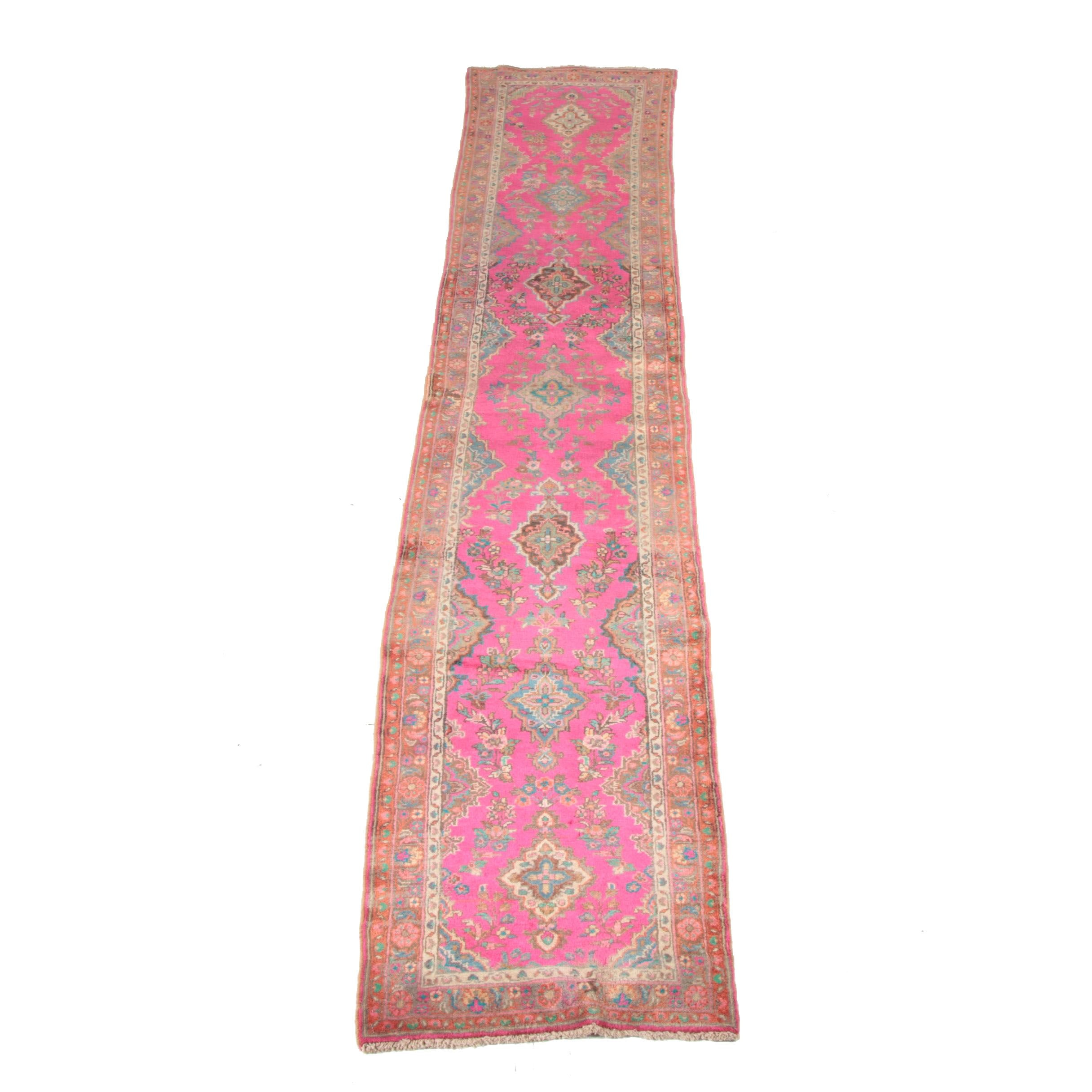 Semi-Antique Hand-Knotted Persian Carpet Runner