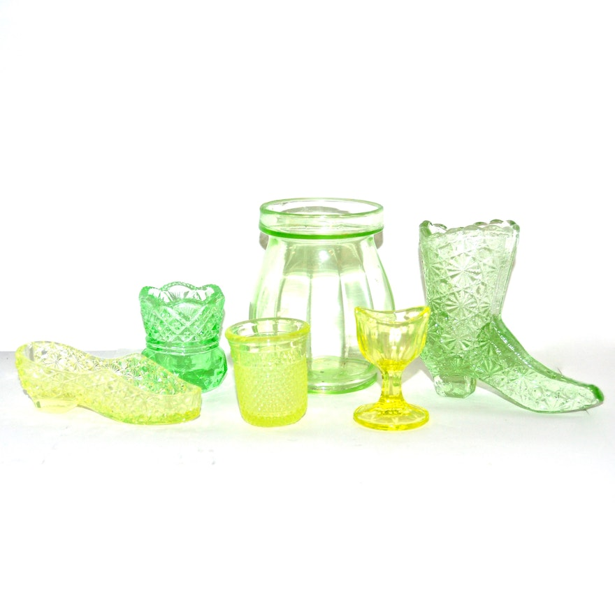 fa204fed8dc43 Yellow and Green Vaseline Glass, Circa 1930s
