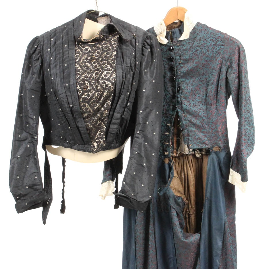 Victorian Brocade Dress and Black Silk Taffeta Blouse