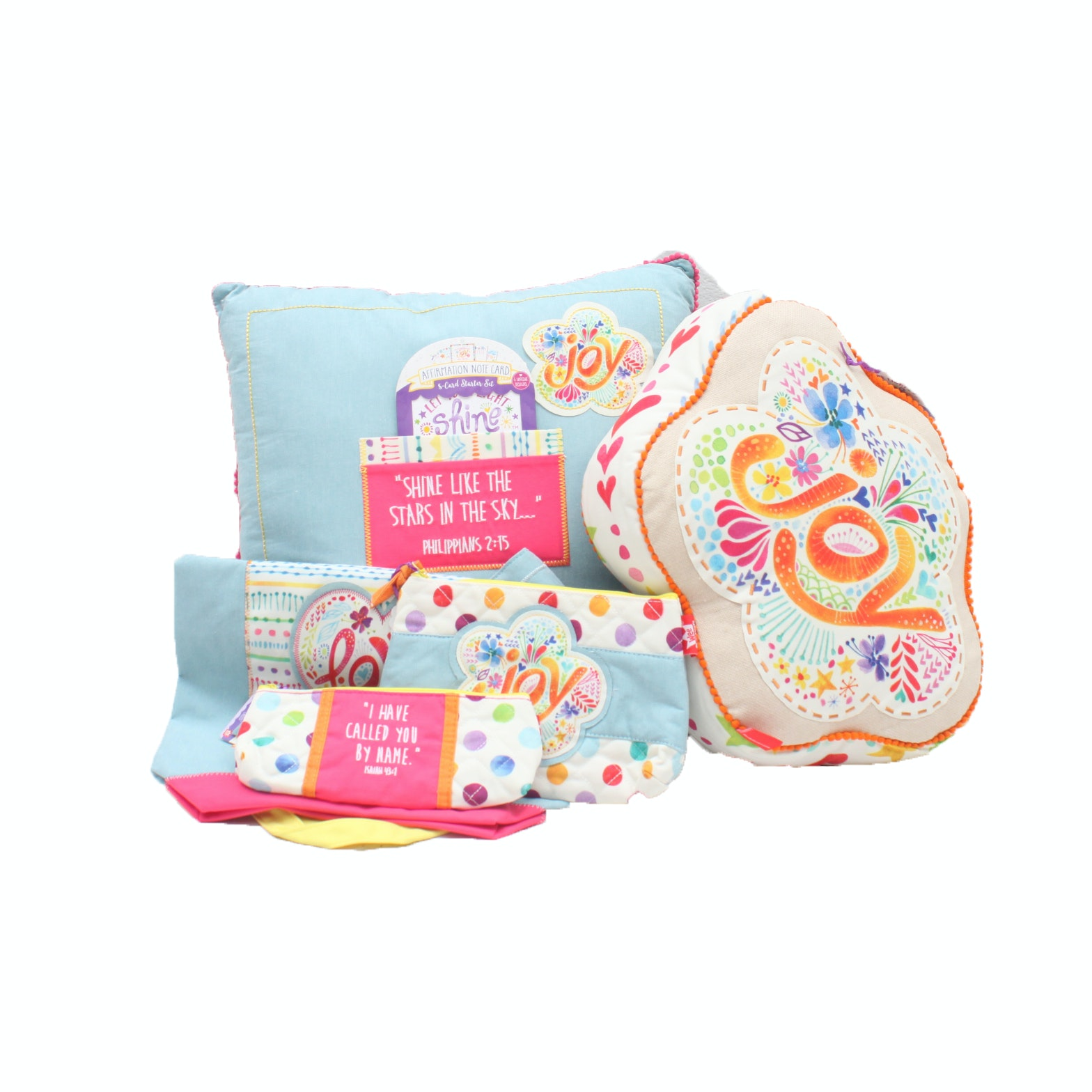 """Let Your Light Shine"" Decorative Throw Pillows and Accessory Bags"