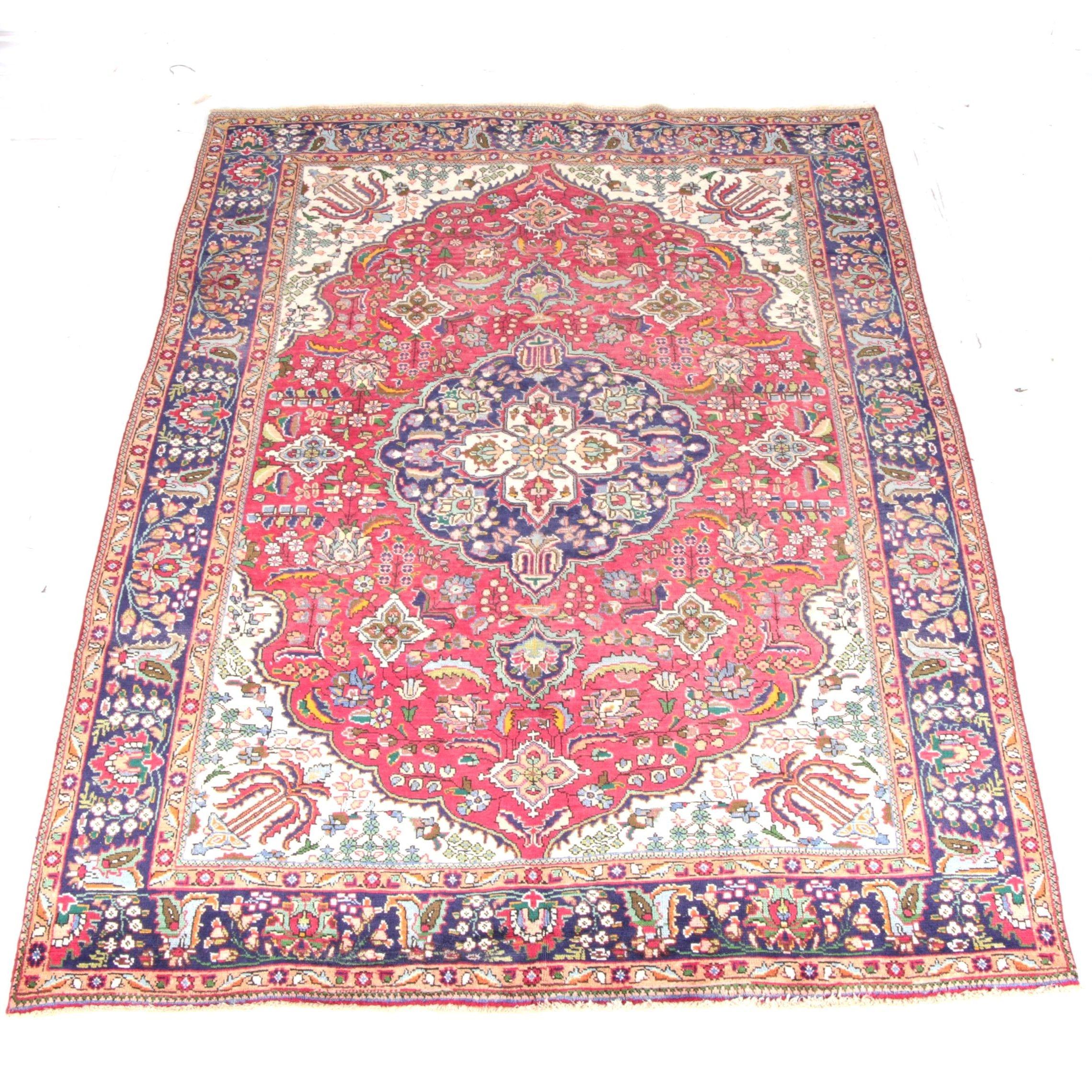Handwoven Semi-Antique Persian Hajjalili Tabriz Wool Area Rug